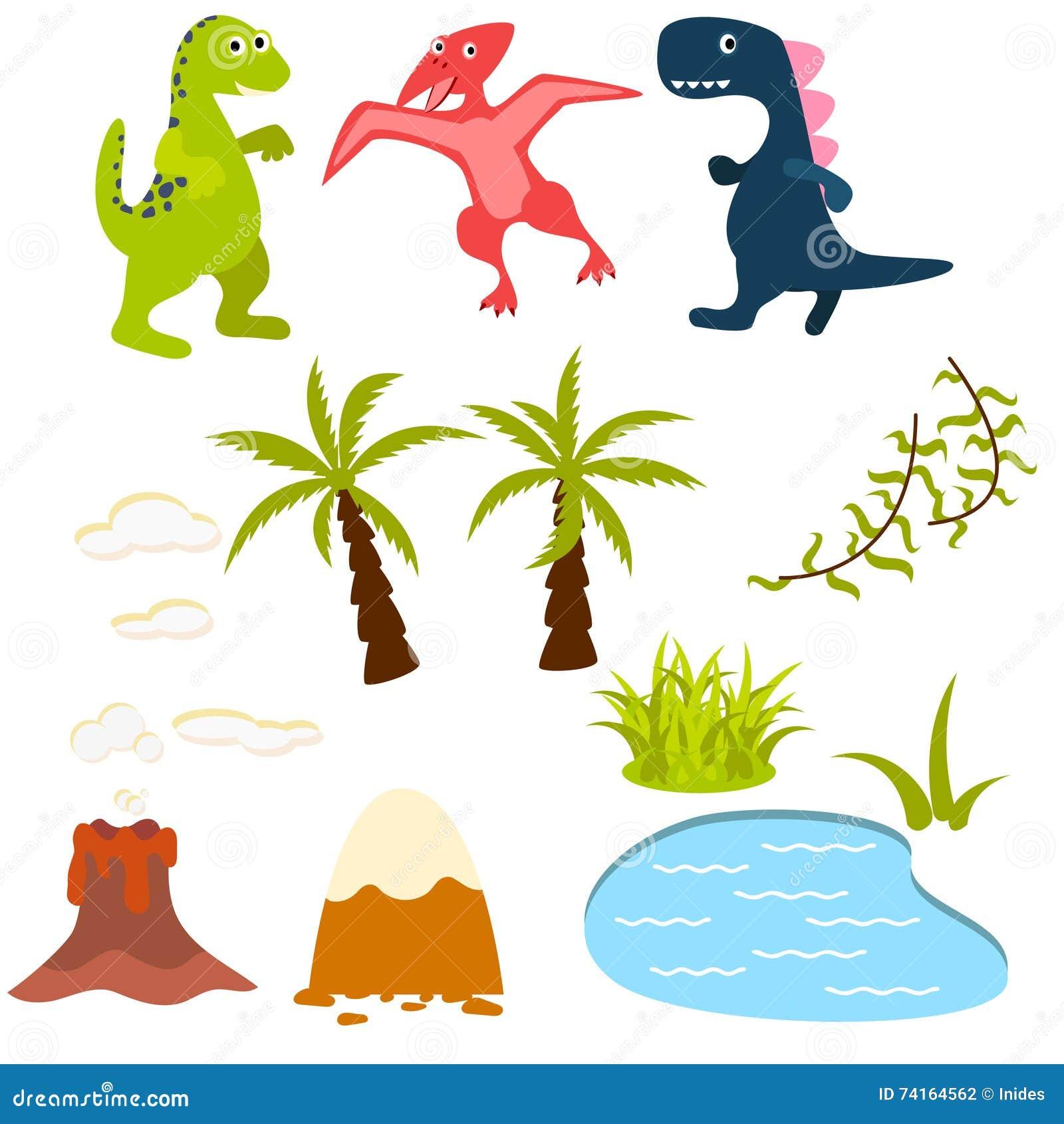 Dinosaur And Jungle Tree Clipart Set. Stock Vector - Image: 71375476