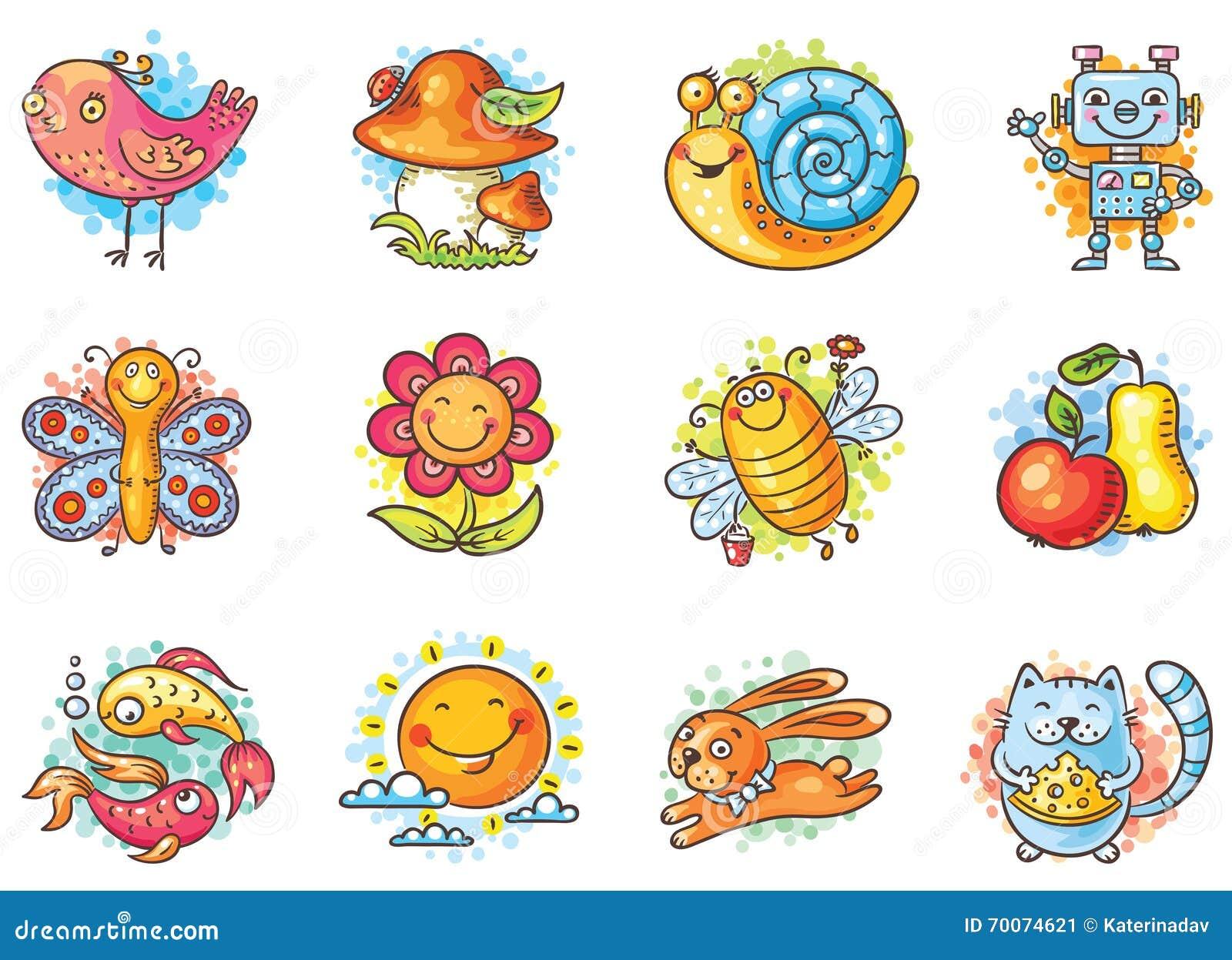 Set Of Cartoon Elements For Kids Designs Stock Vector