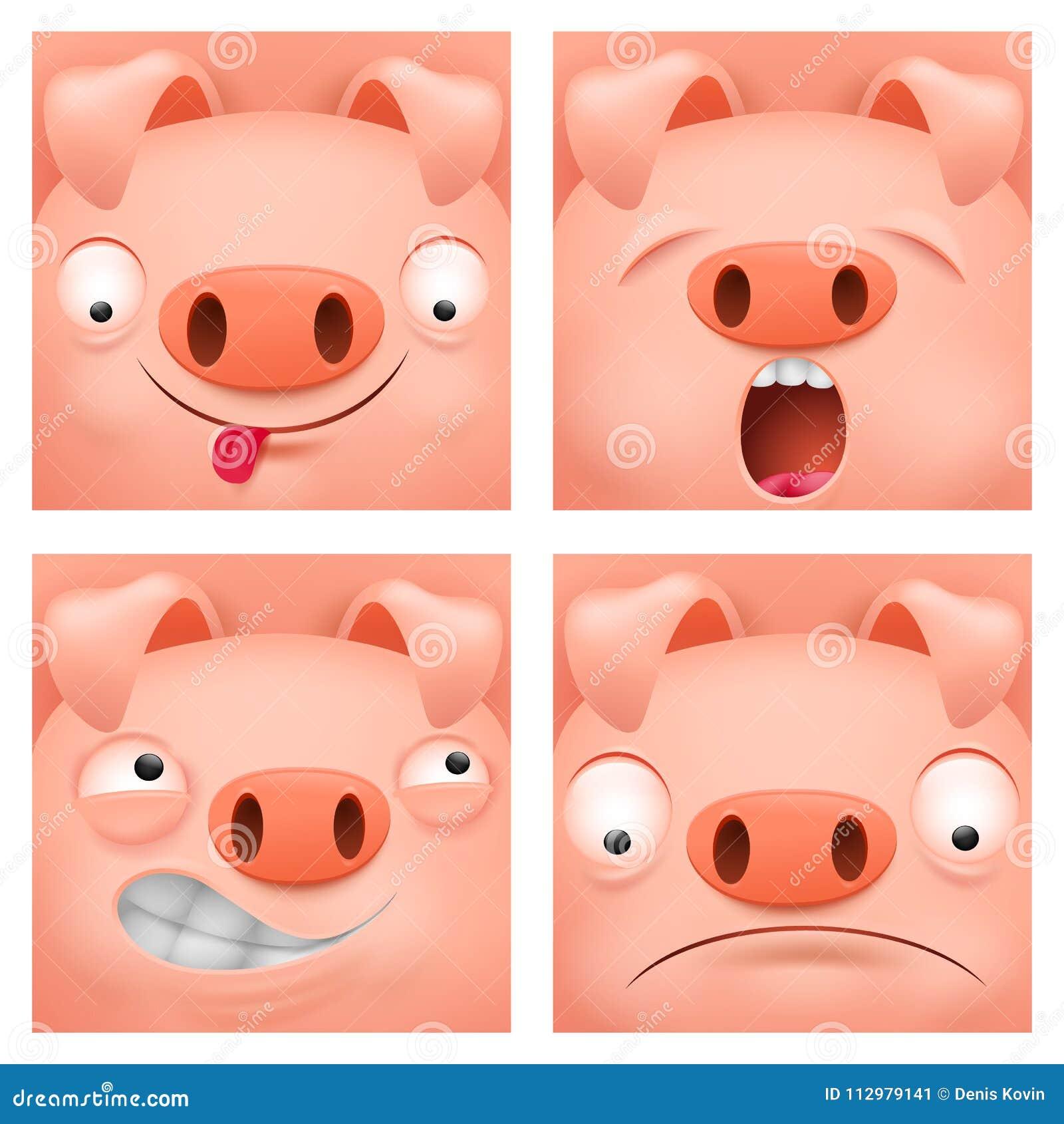 Set of cartoon emoji pig character icons