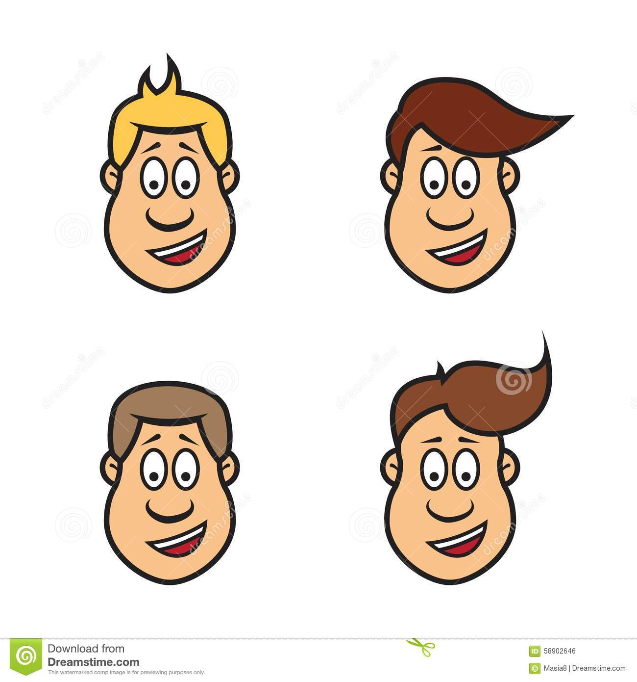 Hairstyle Man Face And Set Of Haircuts Vector Illustration