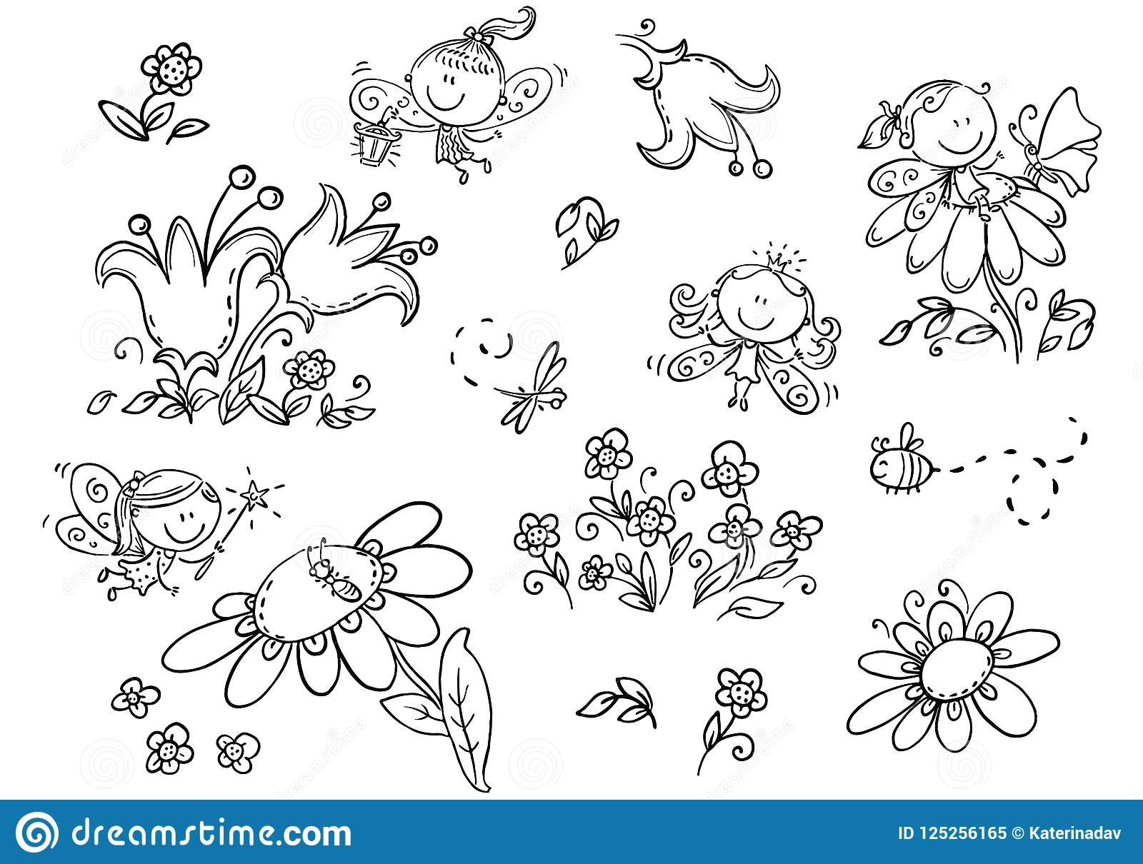 Set Of Cartoon Fairies Insects Flowers And Elements Black And