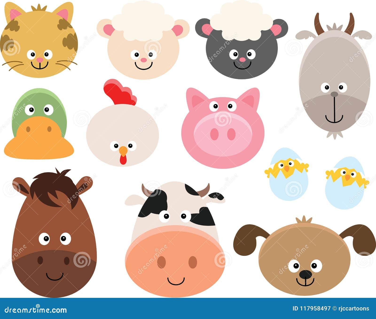 Farm Animal Faces Clipart Set Stock Vector Illustration of cute