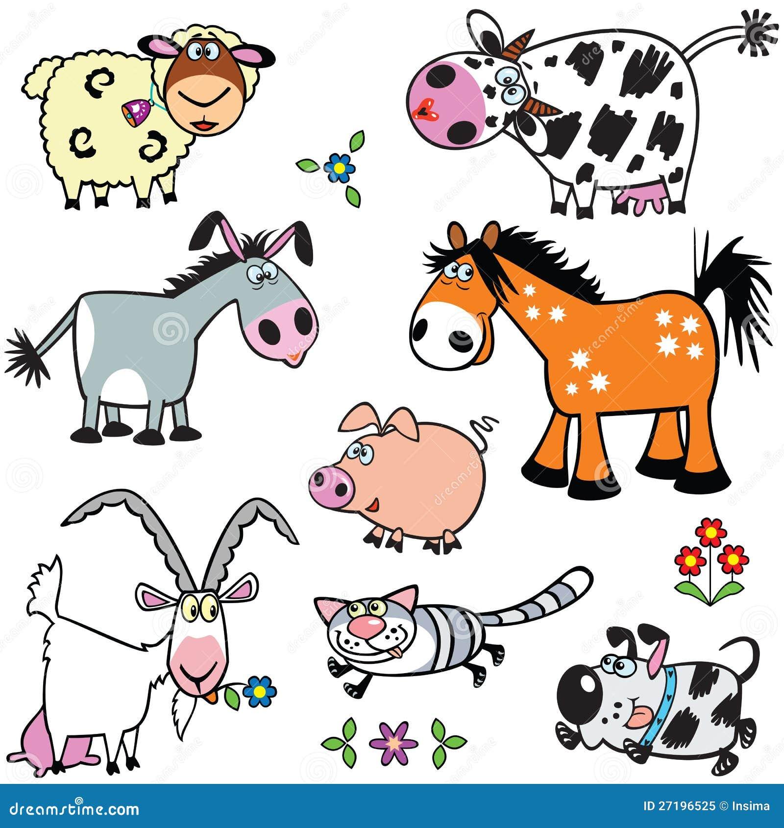Set With Cartoon Farm ...