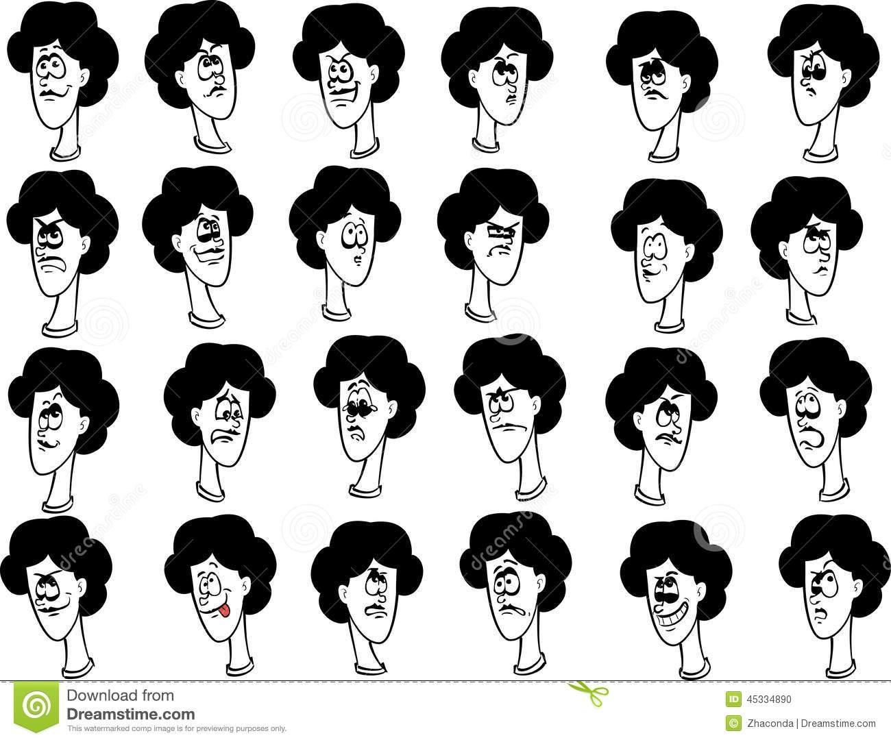 Set Of Cartoon Childrens Faces Stock Vector Art More: Set Of Cartoon Female Faces With Emotional Stock Vector