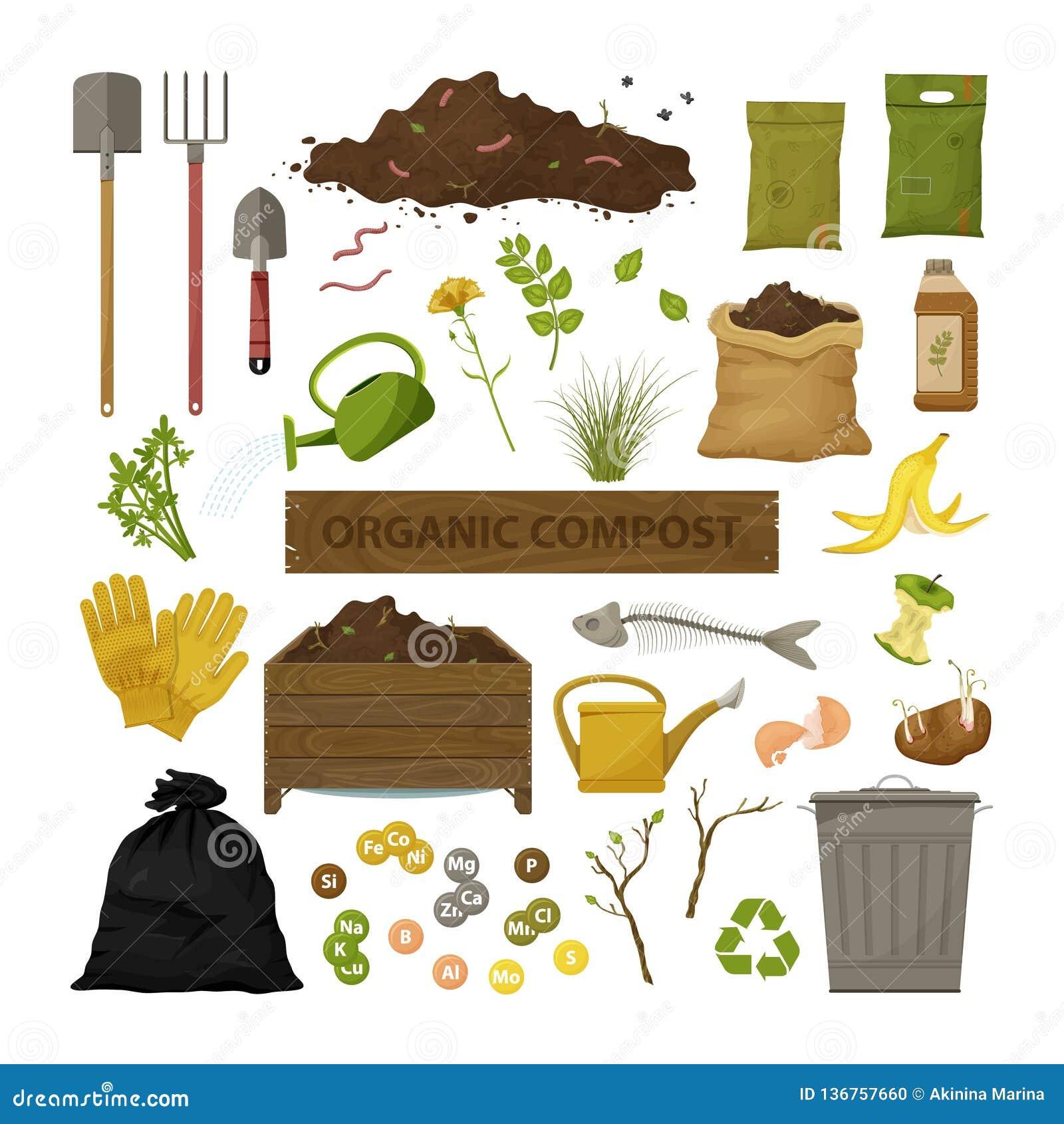 Set of cartoon flat icons. Organic compost theme. Garden tools, wooden box, ground, food garbage. Illustration of bio, organic