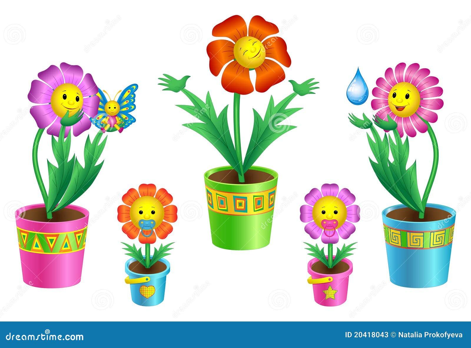 Set Cartoon Flowers In Pots Stock Vector Illustration