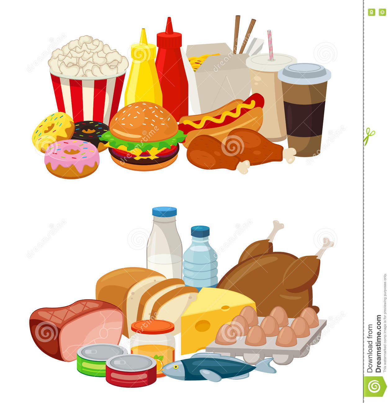 Set Of Cartoon Food And Drinks For Restaurant Or