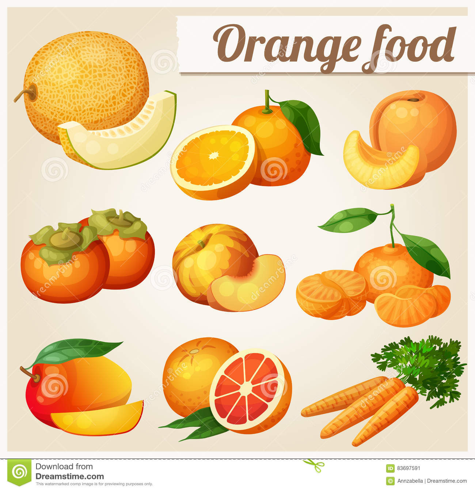 Set of cartoon food icons orange stock vector