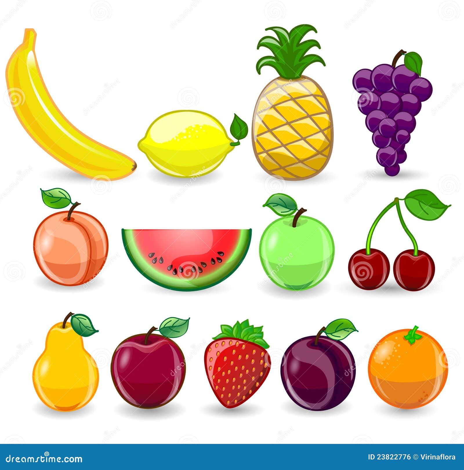 Set Of Cartoon Fruits,vector Stock Vector