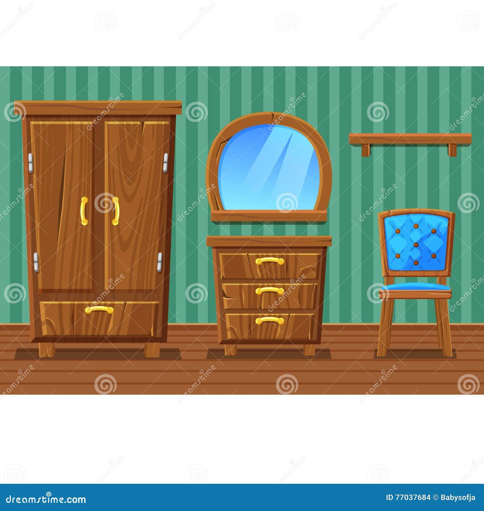 Set cartoon funny wooden furniture living room stock - Living room wooden furniture photos ...
