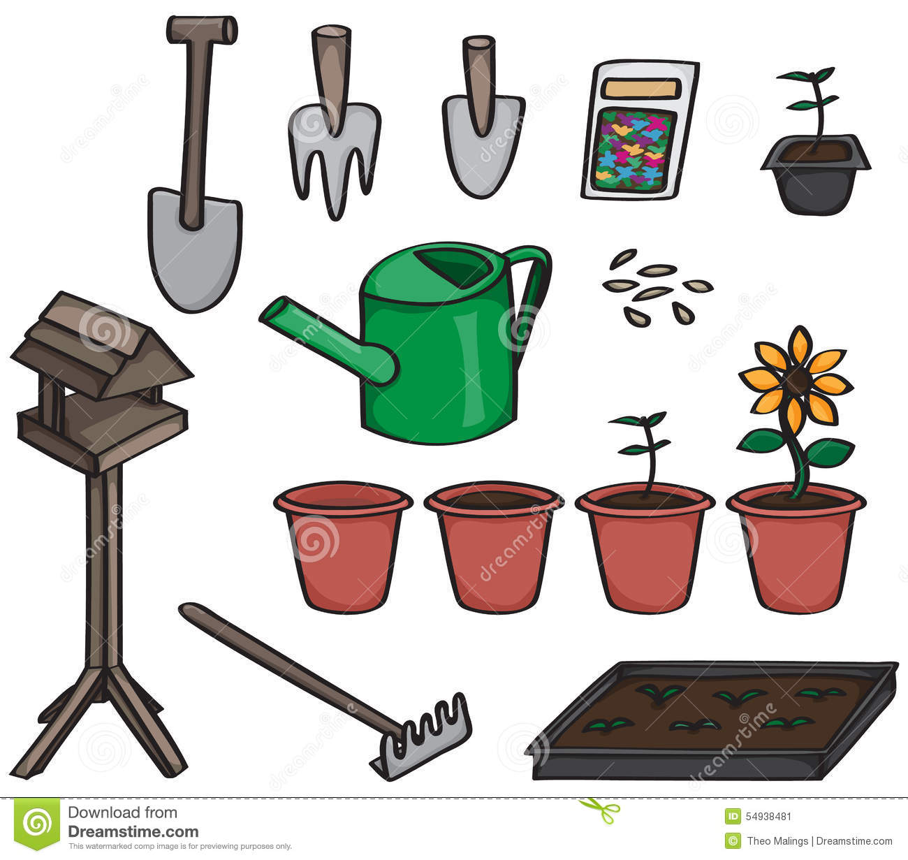 Set of cartoon gardening tools stock vector image 54938481 for Gardening tools cartoon