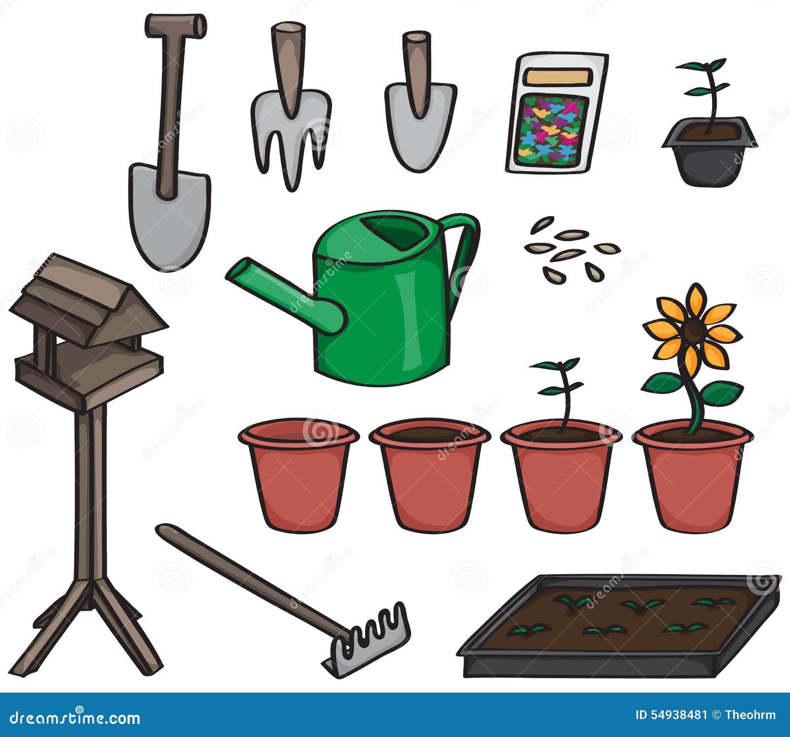 Set Of Cartoon Gardening Tools Stock Vector Image 54938481