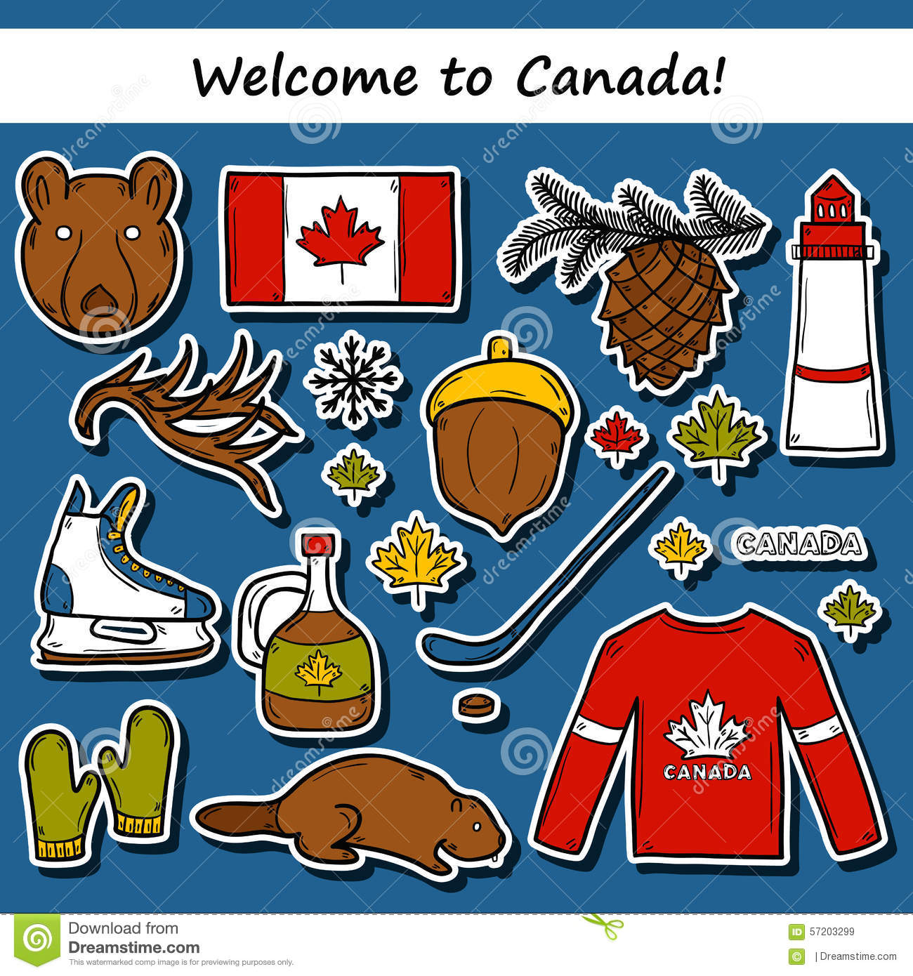 set of cartoon hand drawn stickers on canada theme stock canada flag vector free canada flag vector free download
