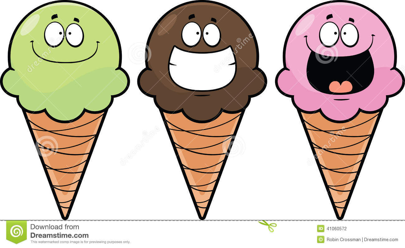 Set Cartoon Ice Cream Cones Stock Vector - Illustration of ...