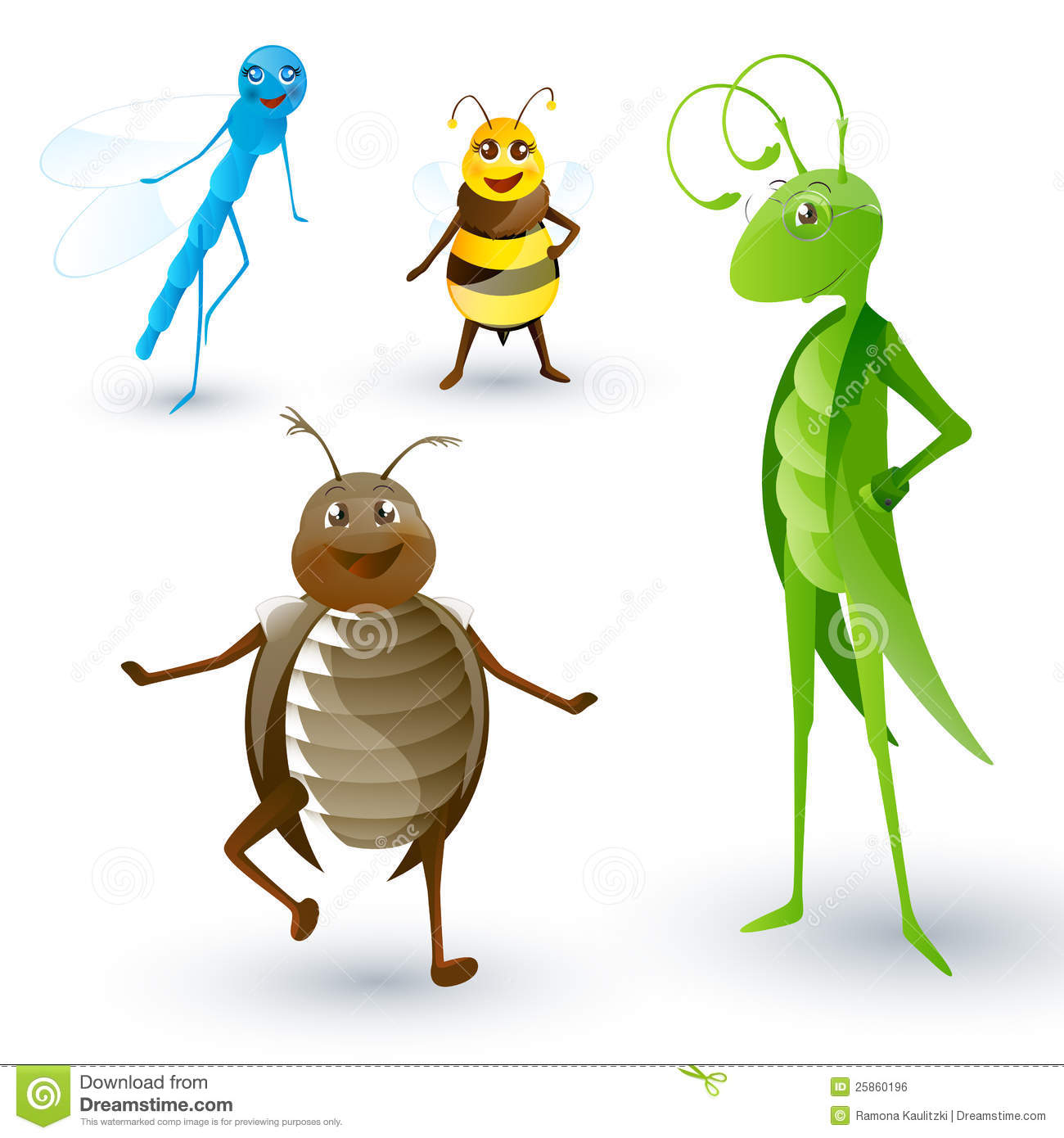 Set with cartoon insects royalty free stock image