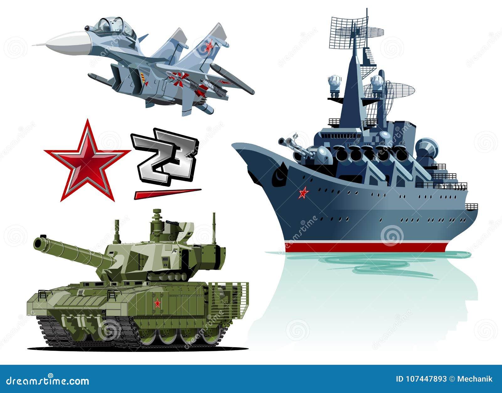 Set Of Cartoon Military Equipment Stock Vector Illustration Of