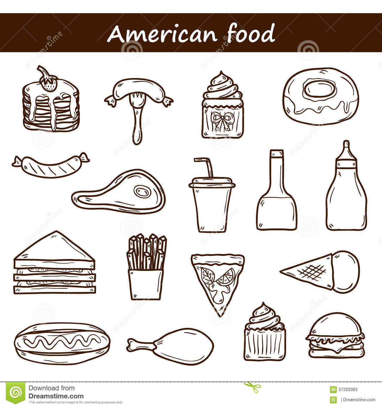 Set of cartoon objects on american food theme