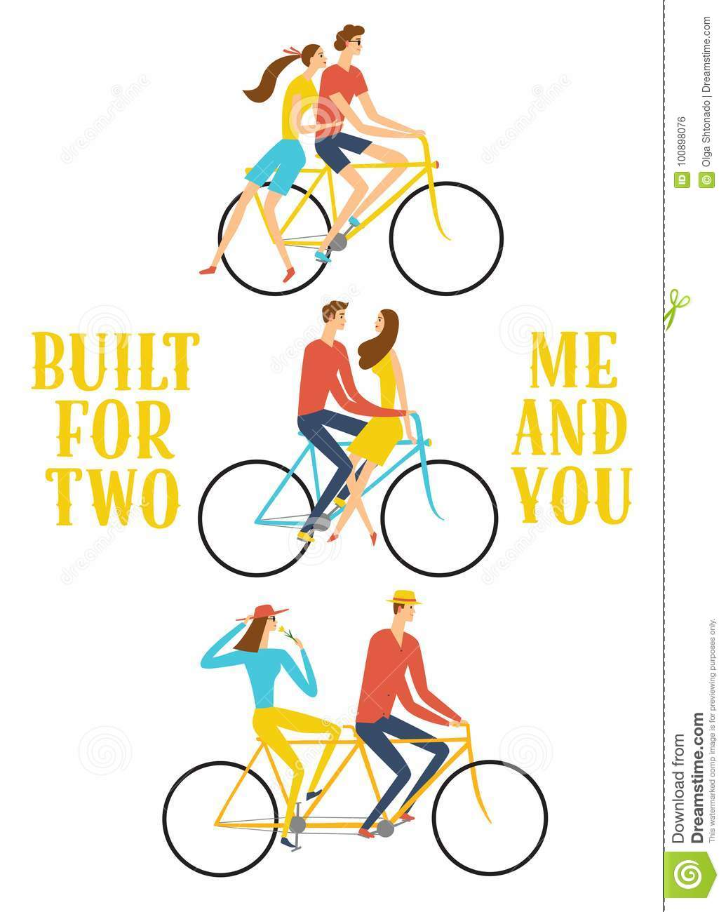 Set of cartoon pairs in love riding a bicycle. Built for two me and you  title. Love and romantic illustration for your design. d038f3314