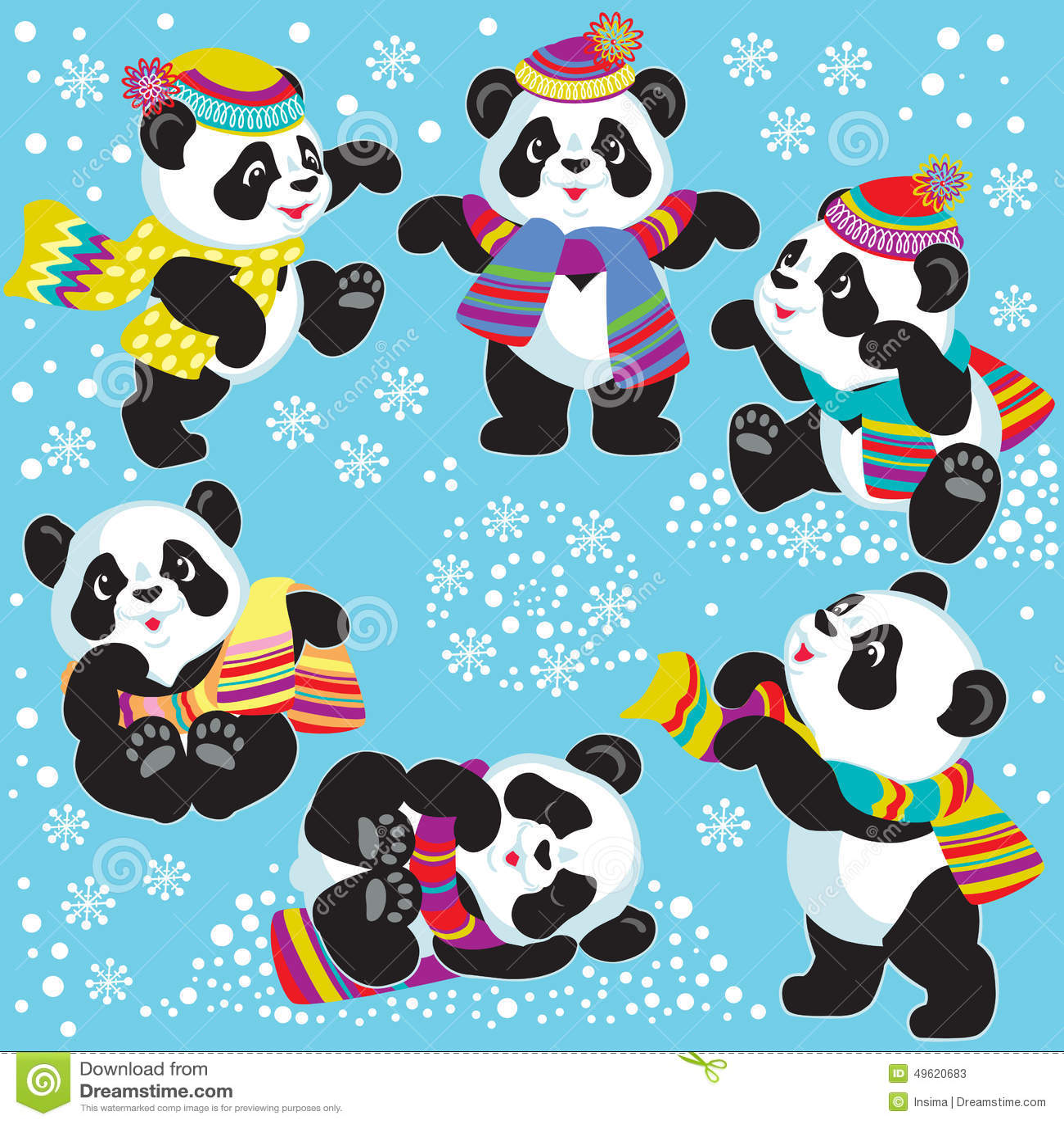 Set With Cartoon Panda In Winter Stock Vector Image