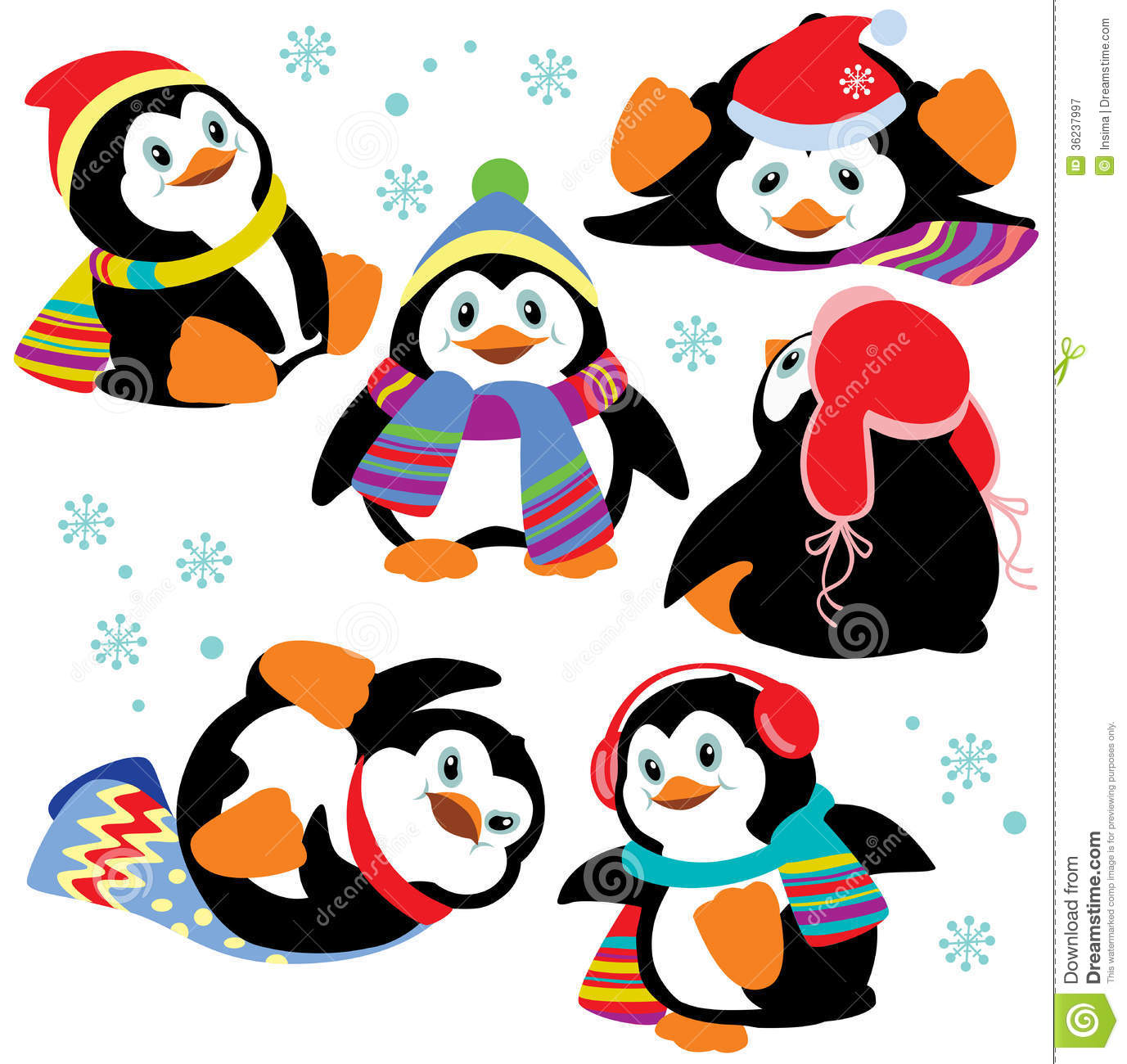 Set Of Cartoon Penguins Royalty Free Stock Photography