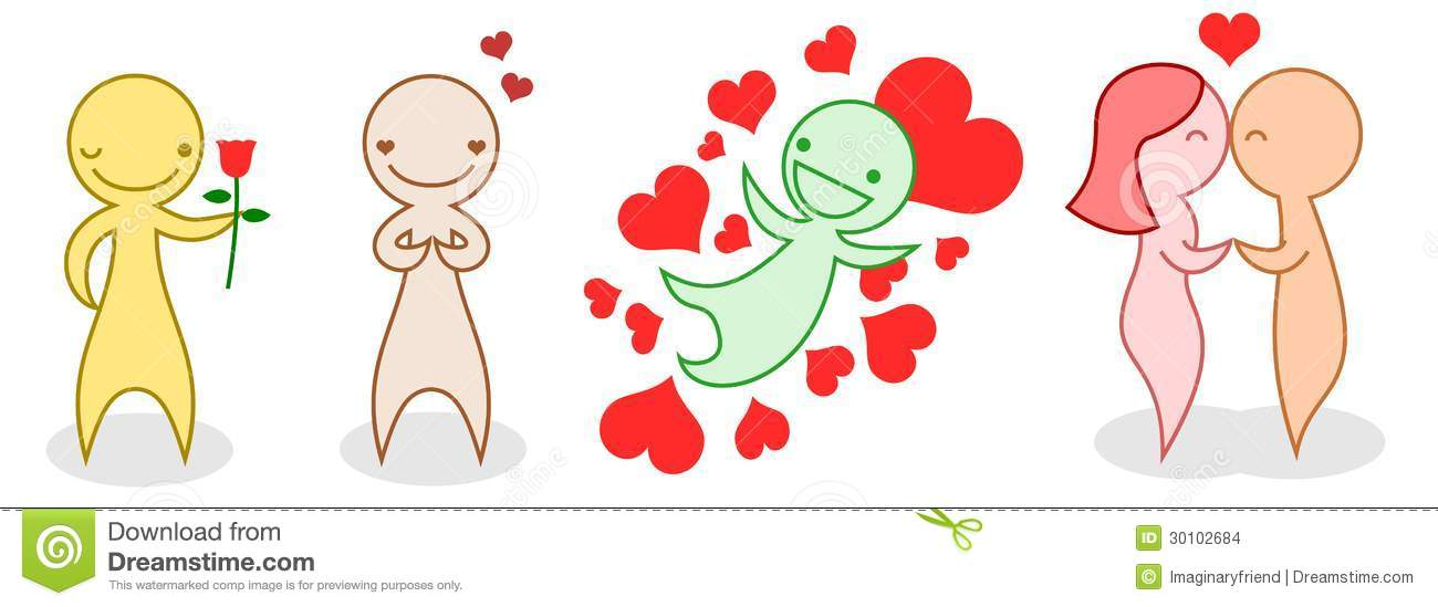 a set of cartoon people in love stock vector illustration of rh dreamstime com Cartoon People Kissing in a Heart Superman Kissing People in Cartoons