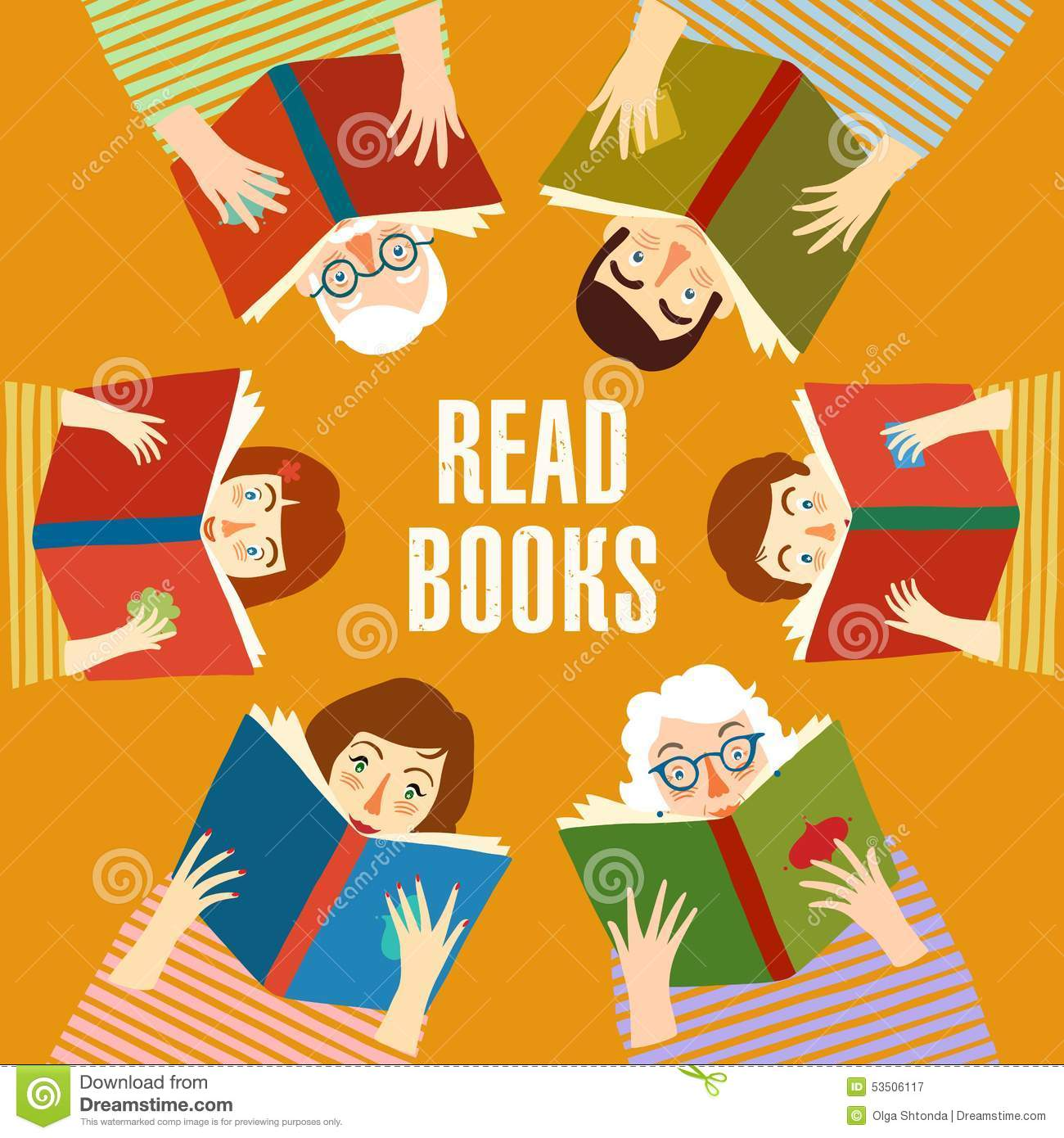 Set Of Cartoon People Reading Books Stock Vector