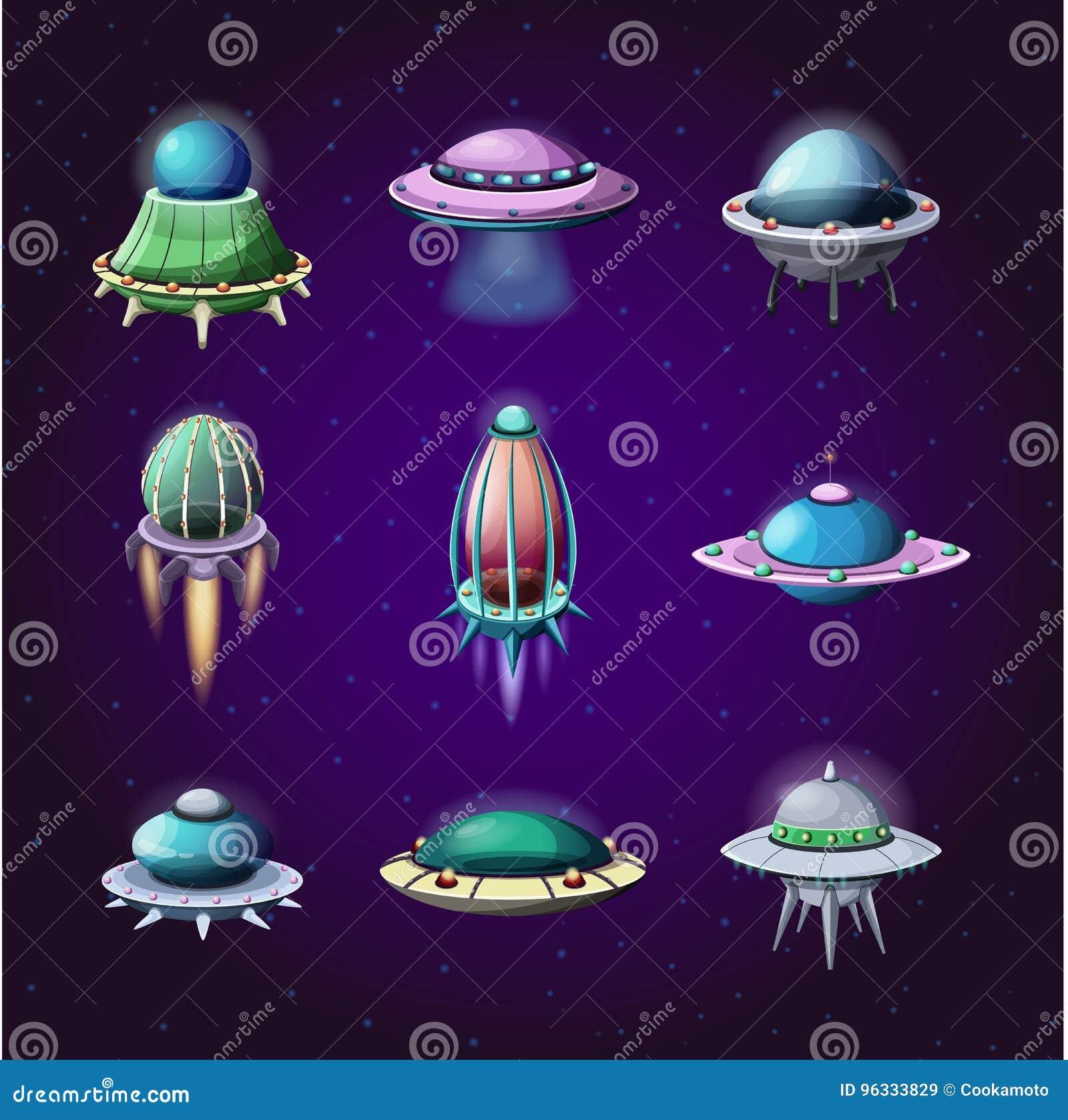 Set of cartoon rockets and alien spaceships