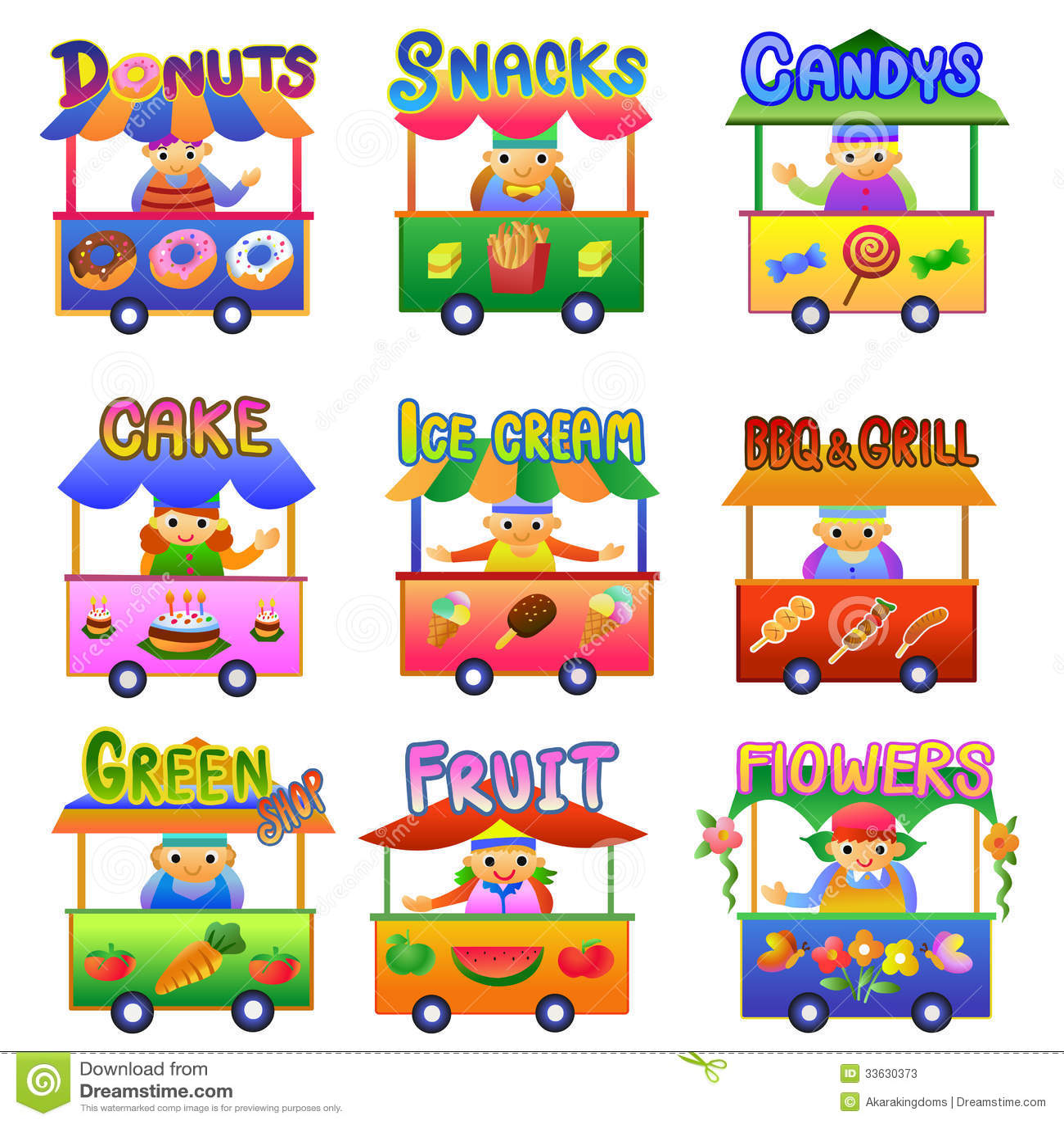 Set Of Cartoon Shops Stock Photos Image 33630373