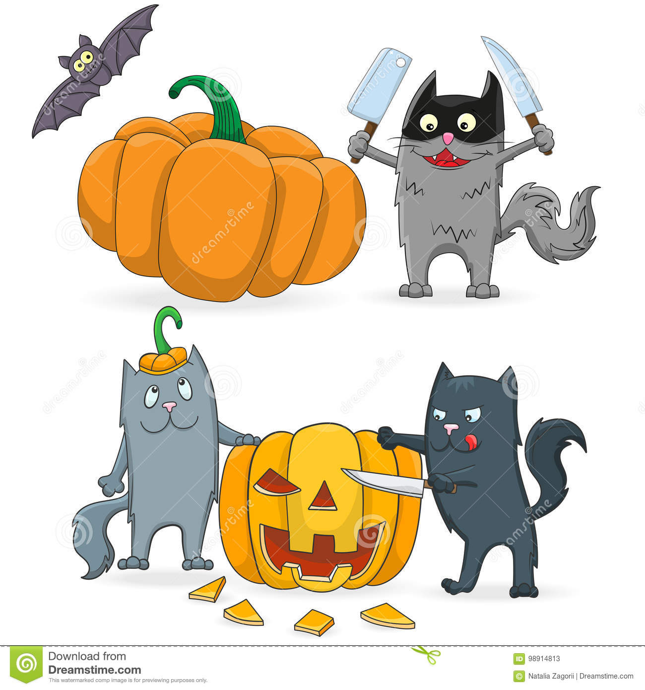 A Set Of Cartoon Illustrations On The Theme Of Halloween ...
