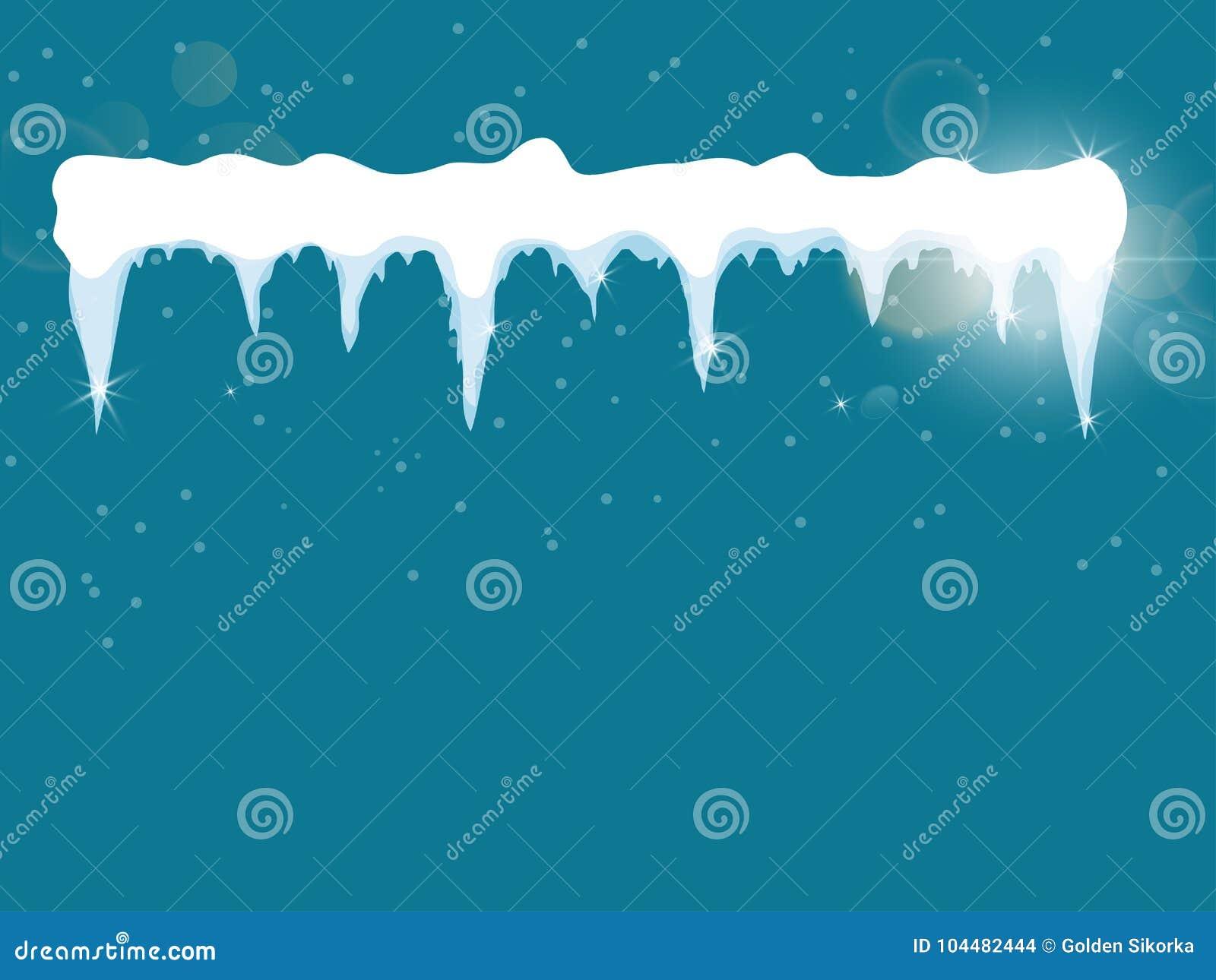 set of cartoon snow design element on blue background snow icicles