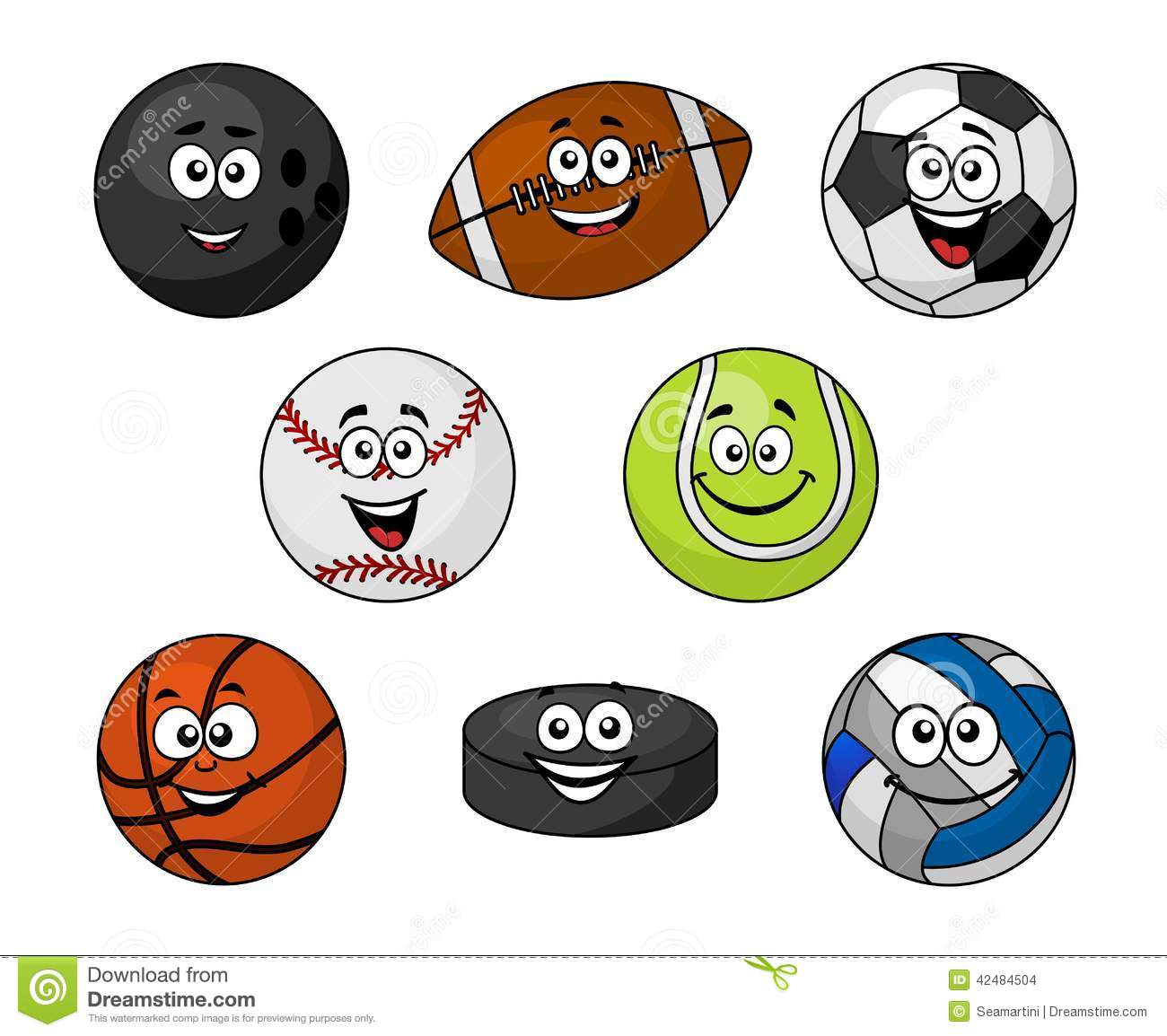 ... and hockey puck with smiling faces, vector illustration on white