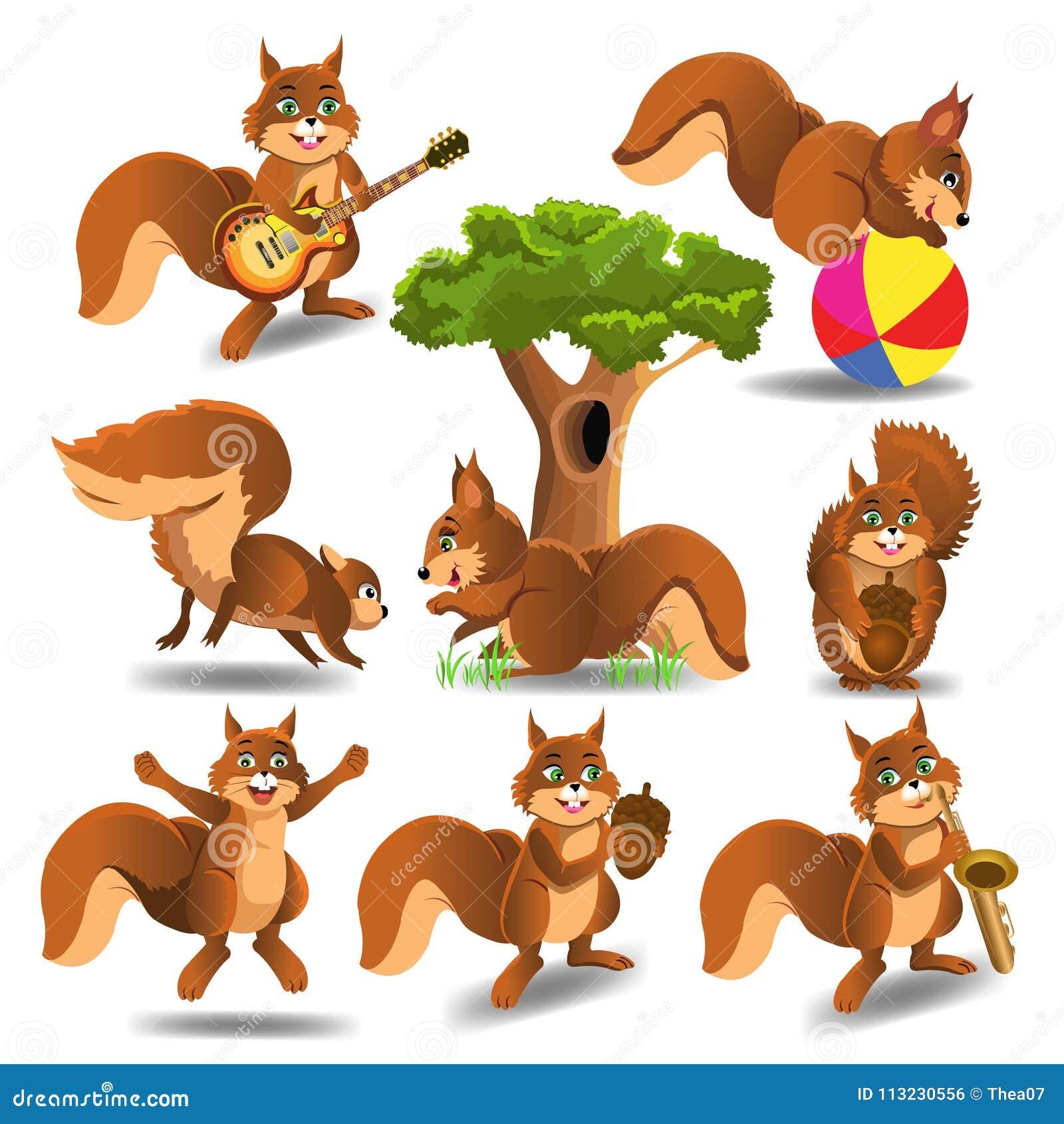 Squirrels Cartoons Illustrations Vector Stock Images
