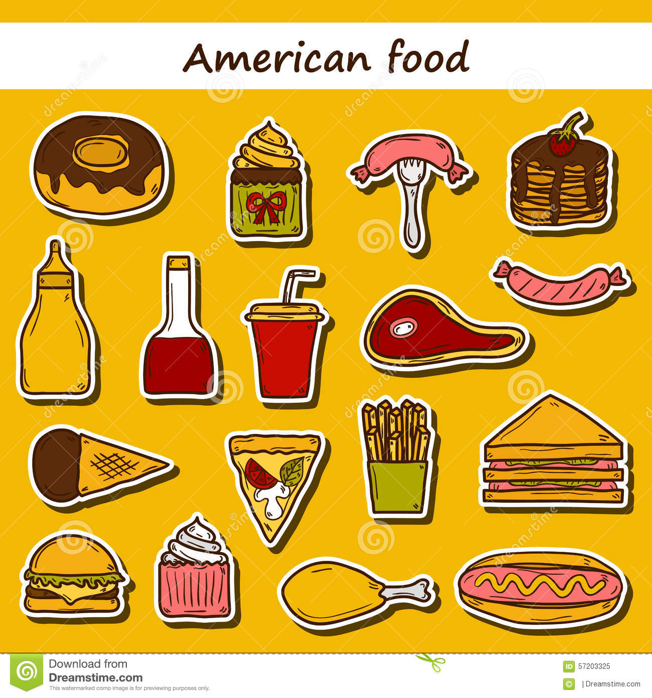 Set of cartoon stickers on american food theme stock for American cuisine foods