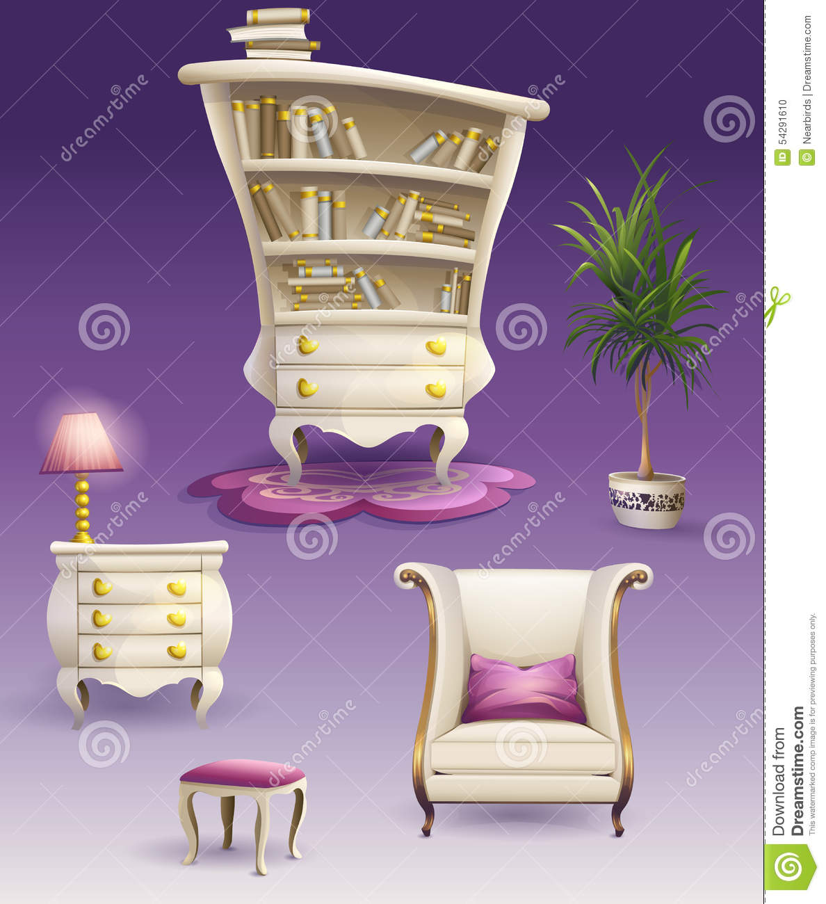 Bedroom Interior Design Set Furniture Vector ~ Set cartoon white bedroom furniture and cabinet stock