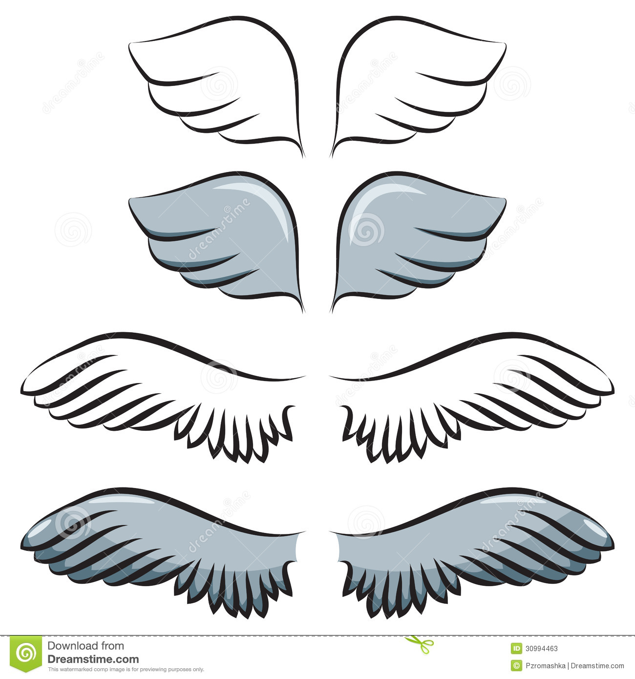 Set of cartoon wings. Two pair. Contour and painted.