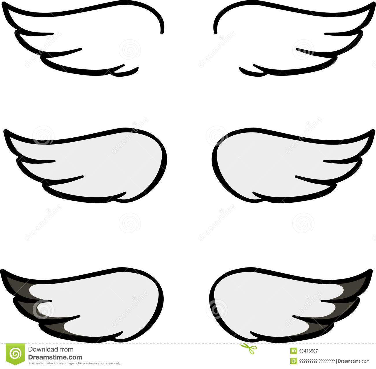 Set Of Cartoon Wings Stock Vector Illustration Of Decoration 39476587
