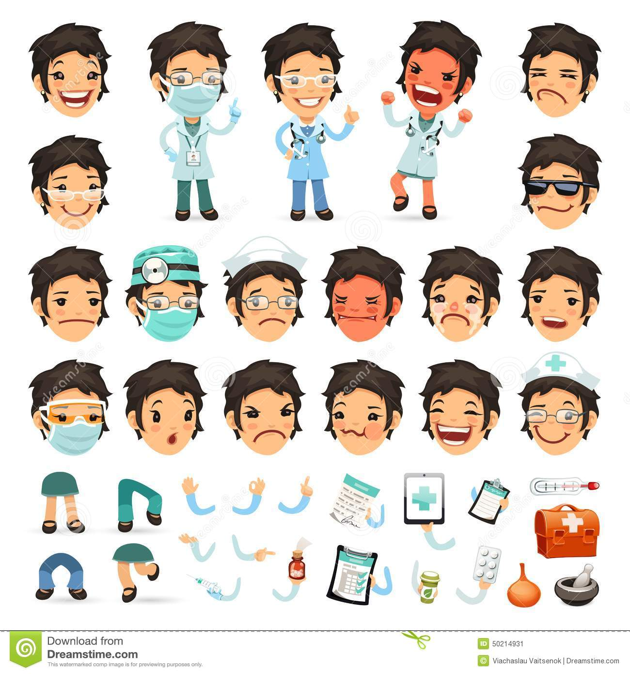 Character Design Career Path : Set of cartoon woman doctor character for your stock