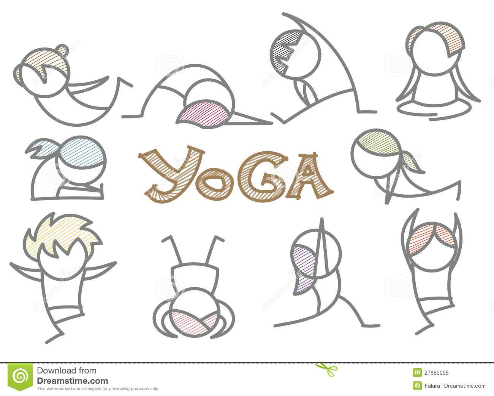 Set Of Cartoon Yoga Line Art Stock Vector Illustration