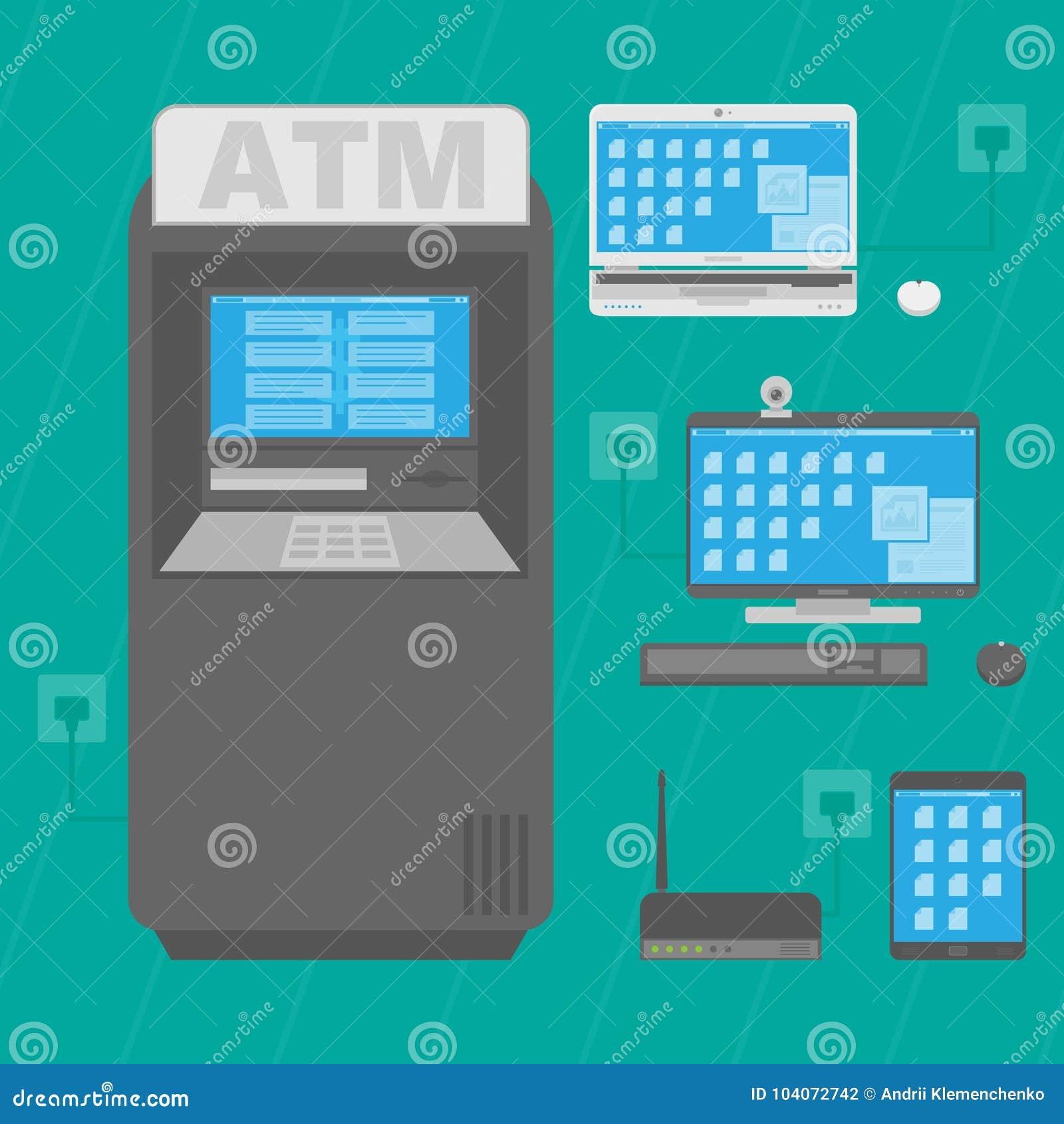 Cash dispenser for cash laptop desktop computer router and tablet download cash dispenser for cash laptop desktop computer router and tablet vector greentooth Image collections