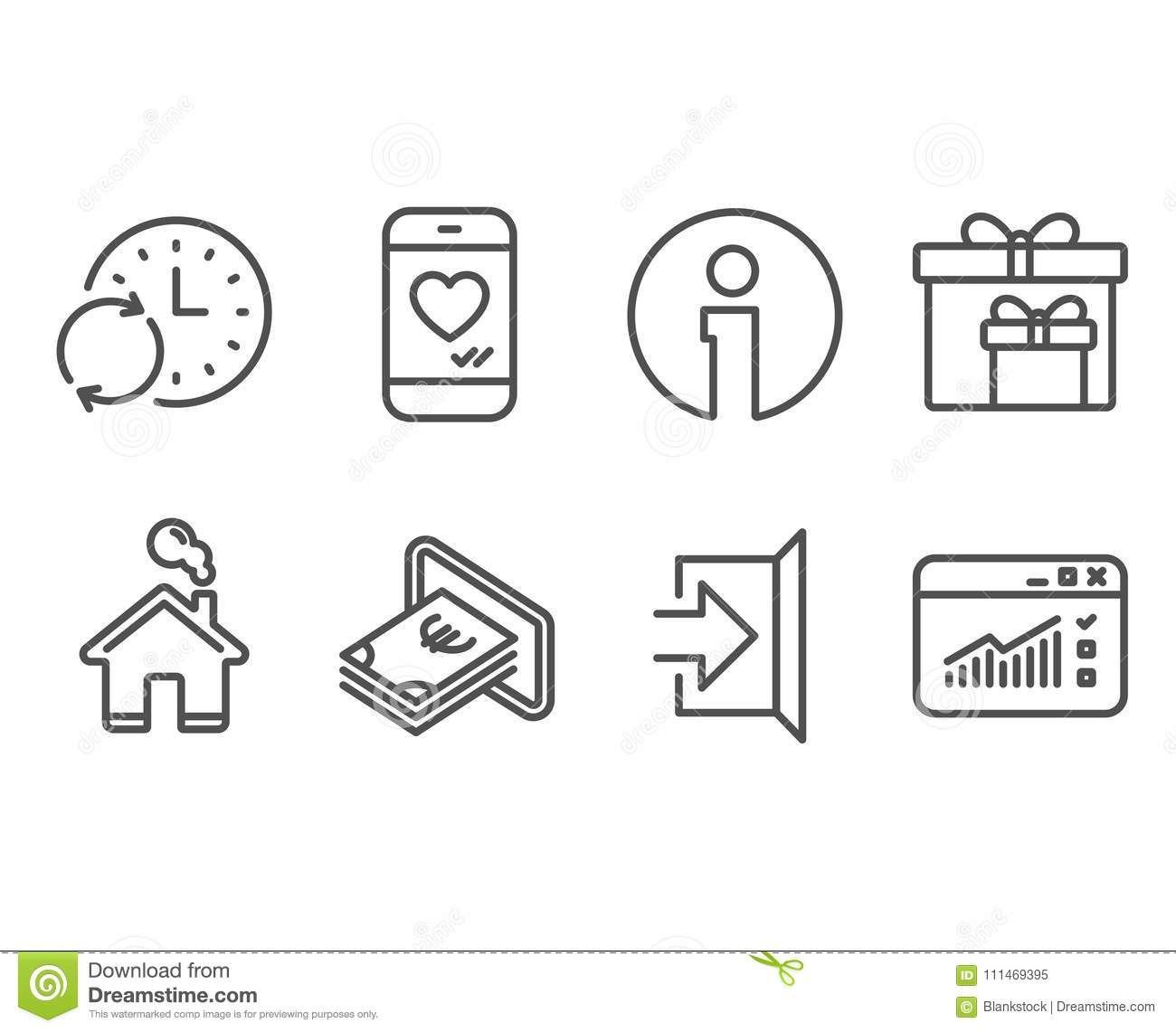 Cash, Update time and Delivery boxes icons. Exit, Love chat and Web traffic signs.