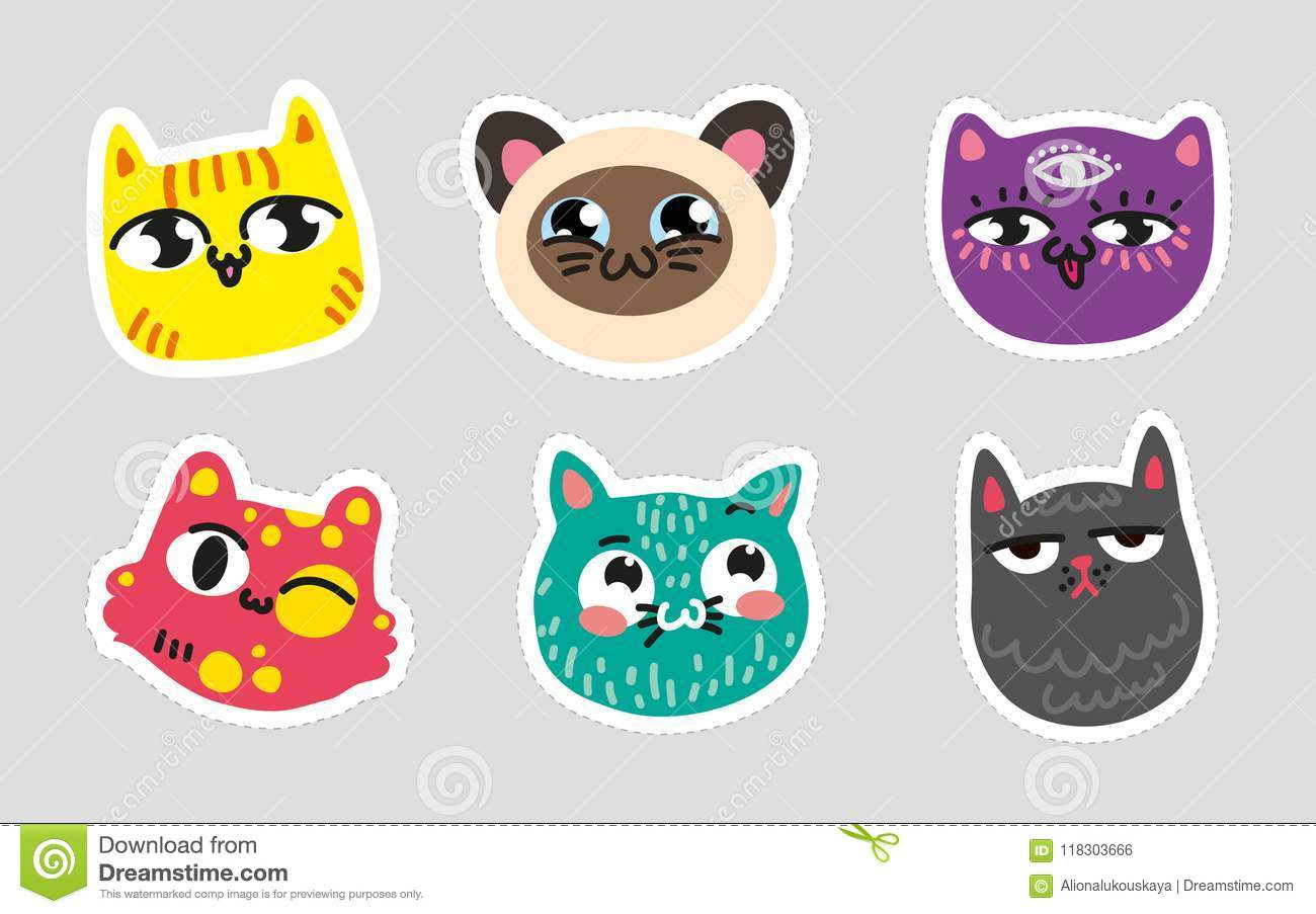 Set Of Cat Emoji Dotted Lines On Gray Background Colorful Set Of