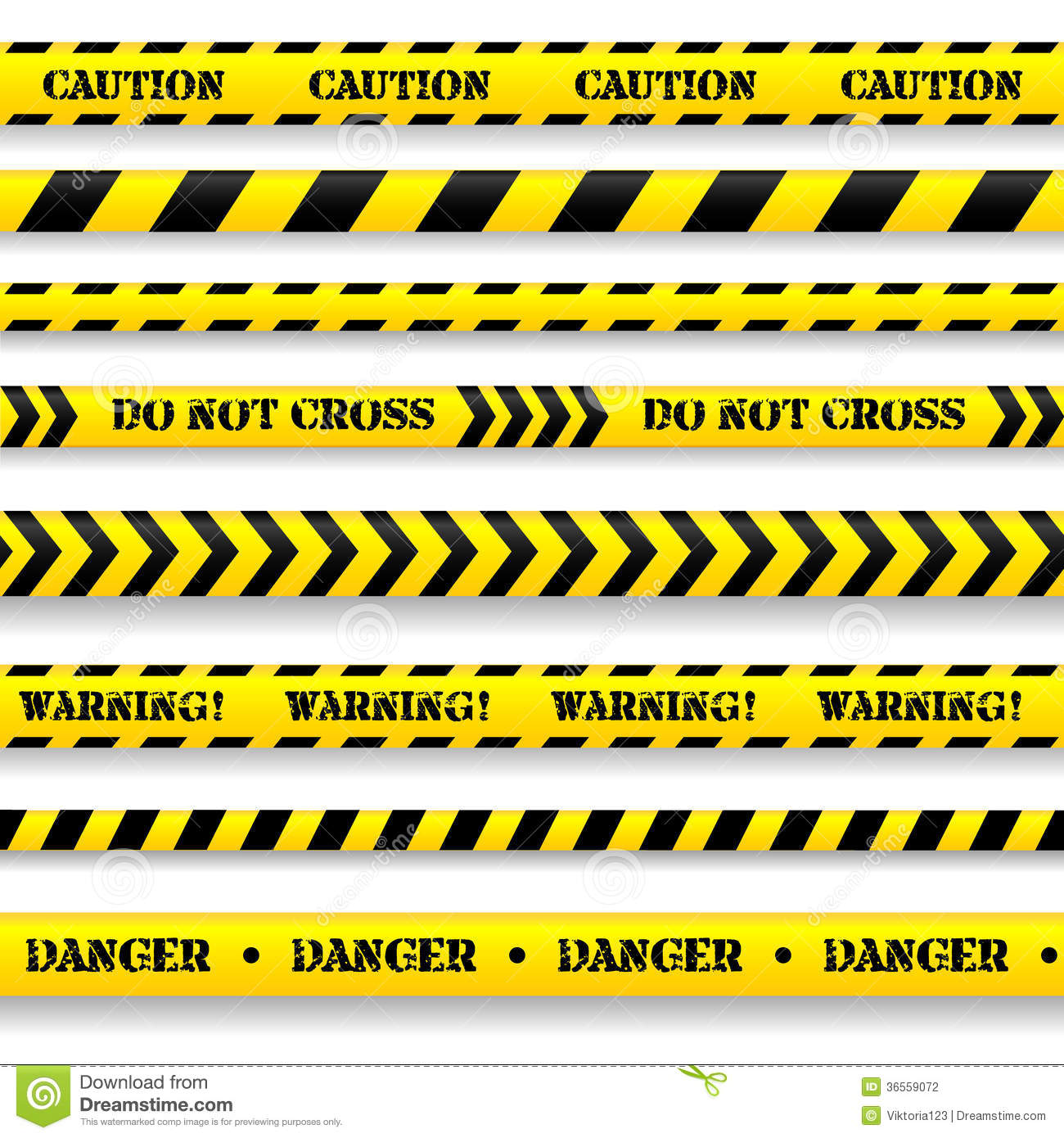 Set Of Caution Tapes Stock Photography Image 36559072