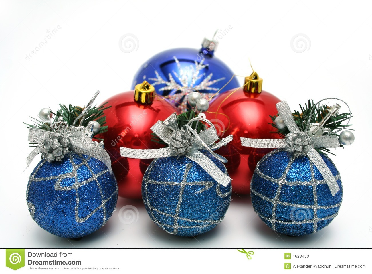 set of celebratory christmas tree decorations of blue color