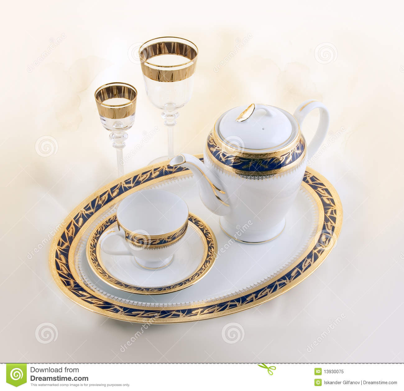Set Of Ceramic And Glass Crockery Royalty Free Stock Photo