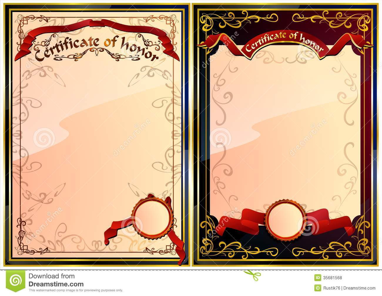 Set Of Certificate Of Honor. 02 (Vector) Royalty Free Stock Photos - Image: 35681568