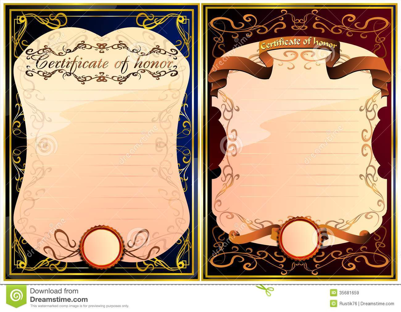 Set Of Certificate Of Honor. 03 (Vector) Stock ...