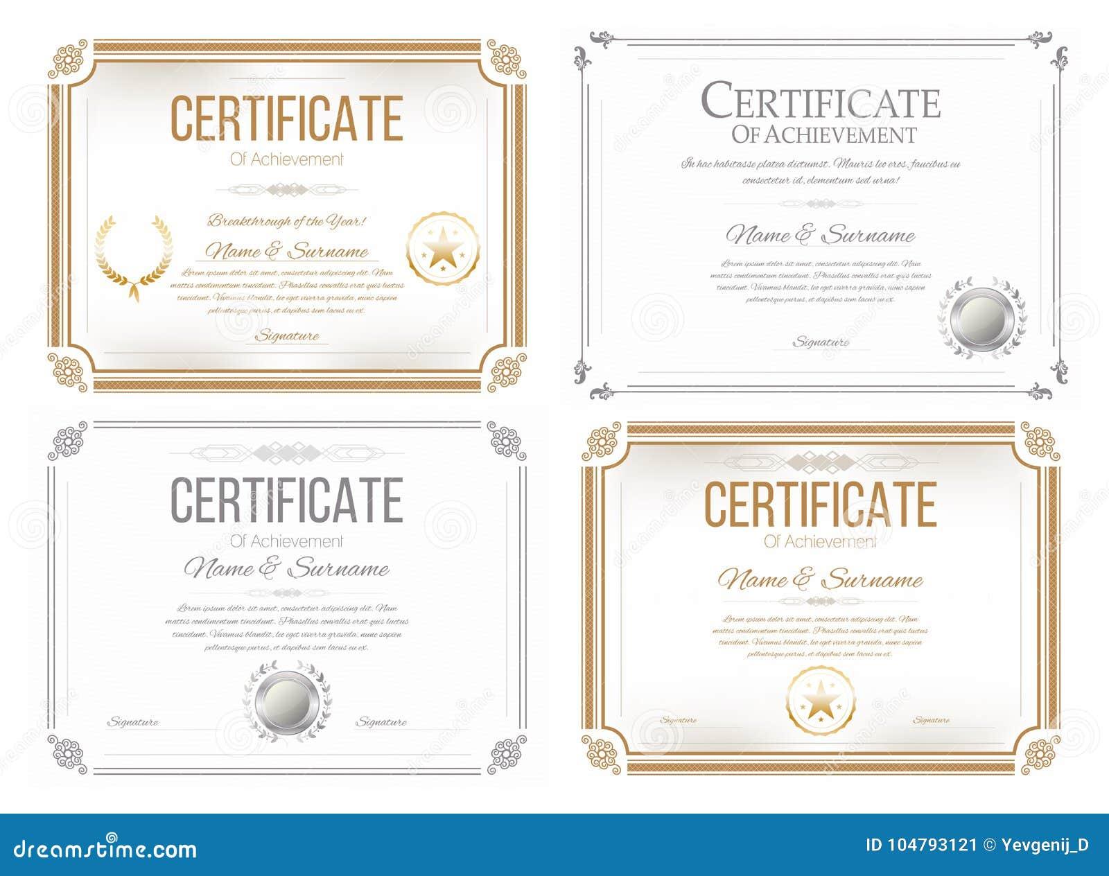 Set Of Certificates Of Appreciation Award Certificate Diploma