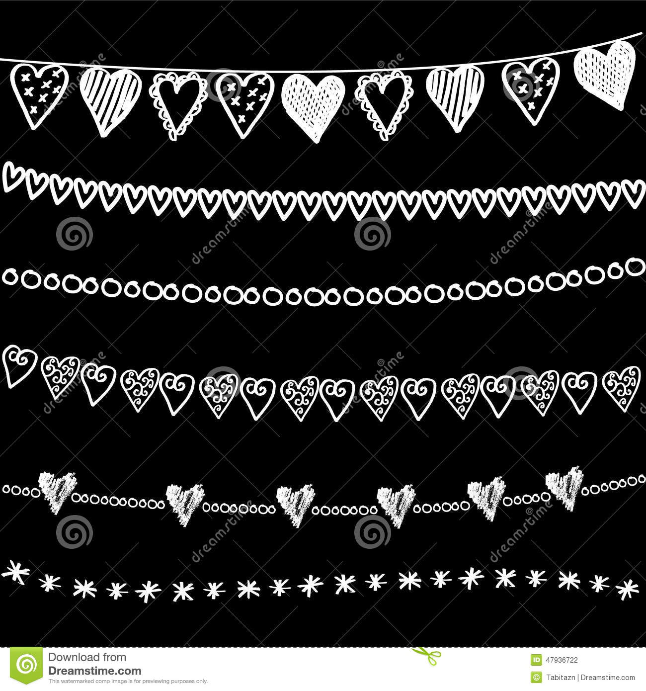 Set Of Chalk Doodle Hand Drawn Garlands Borders On