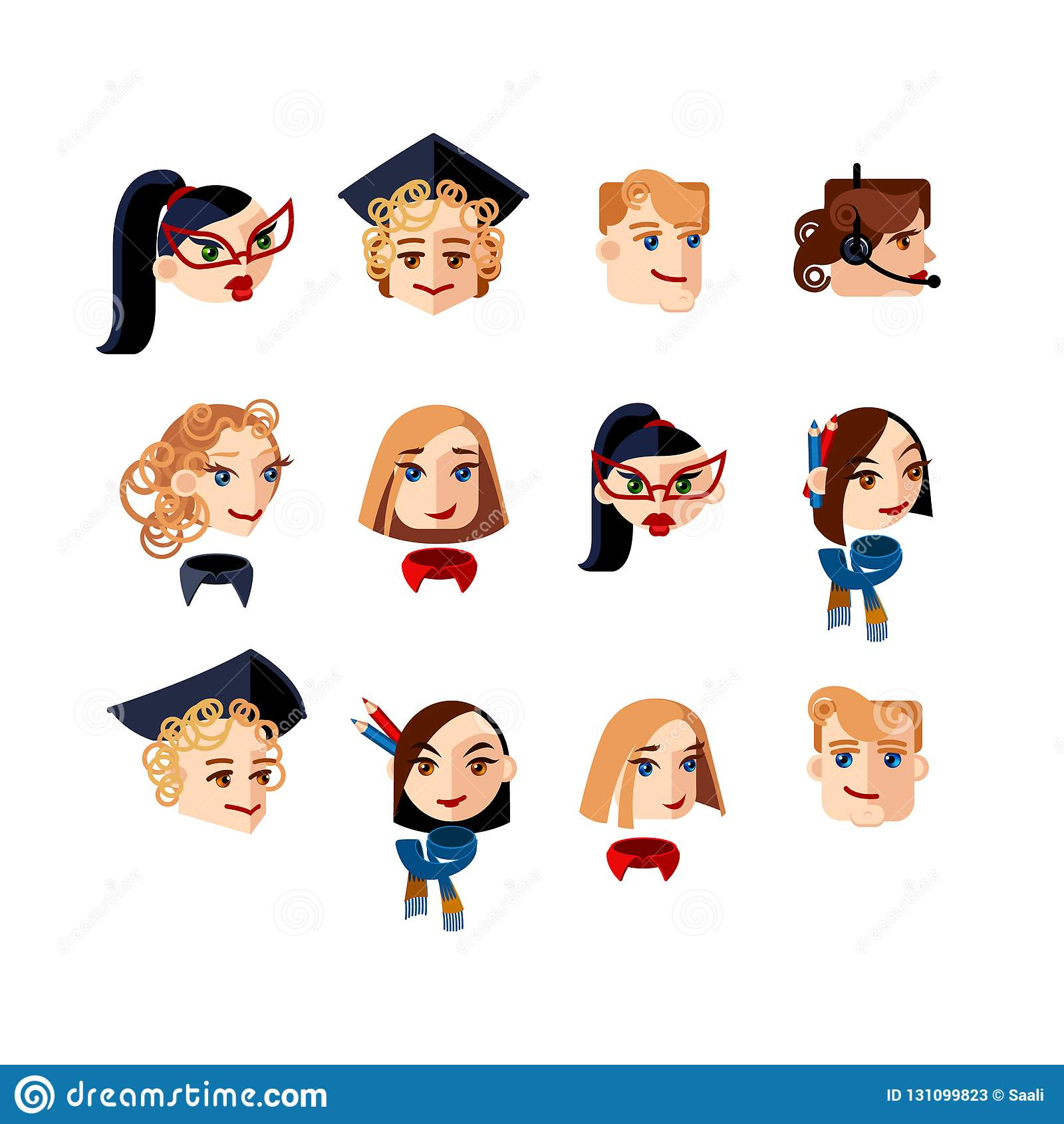 Set Of Character Heads Looking Straight And To The Side Male And