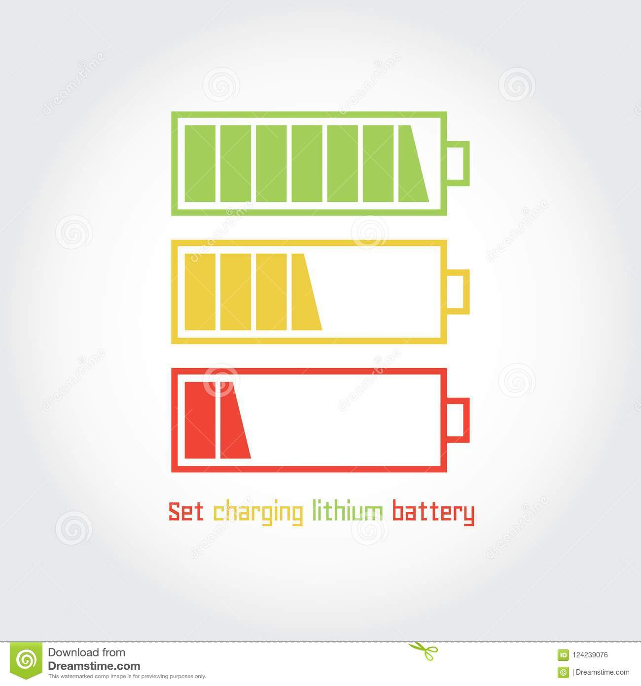 Set Charging Lithium Battery Stock Vector Illustration Of Charger